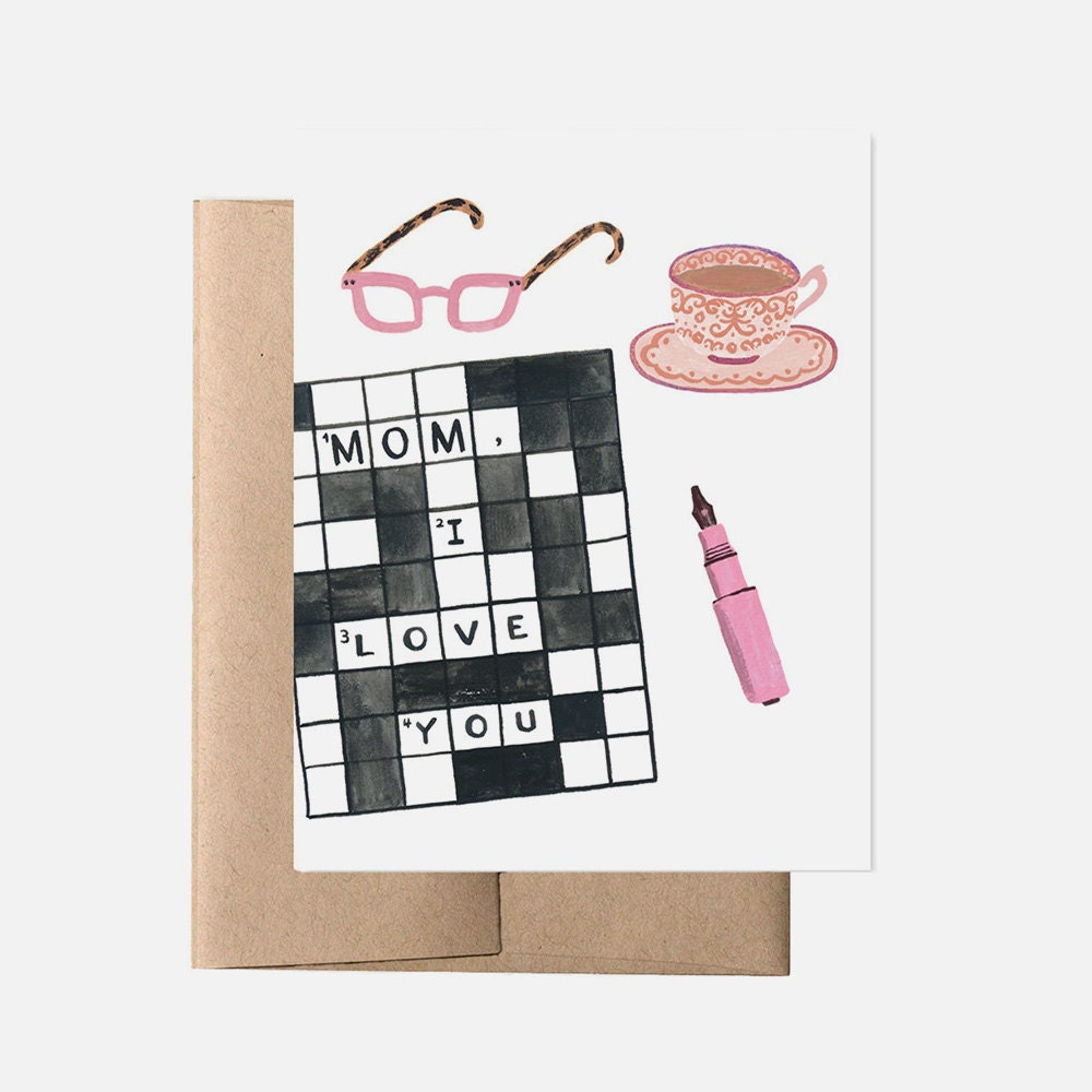 A unique Mother's Day card for a mom who loves solving crossword puzzles