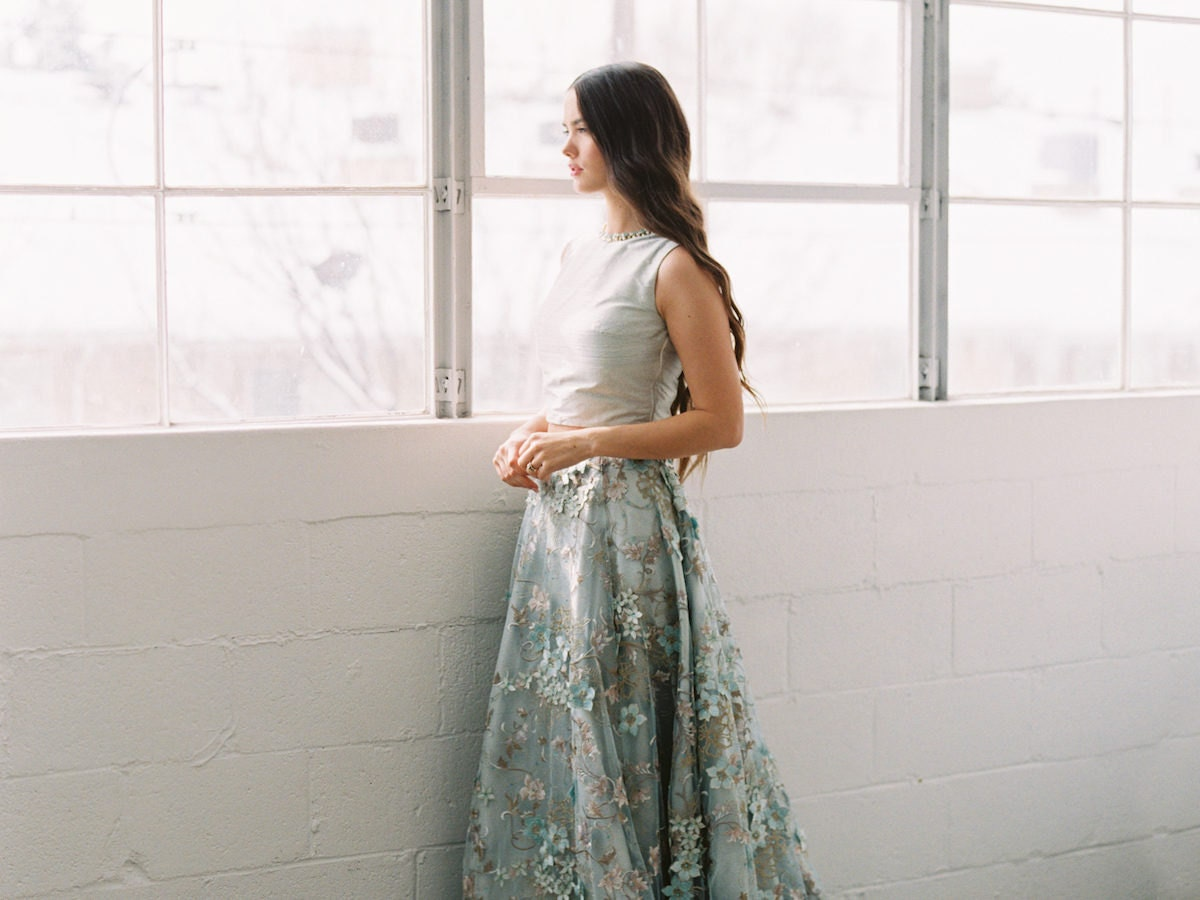 Dusty blue embellished wedding top and skirt from Smitha Menon Bridal