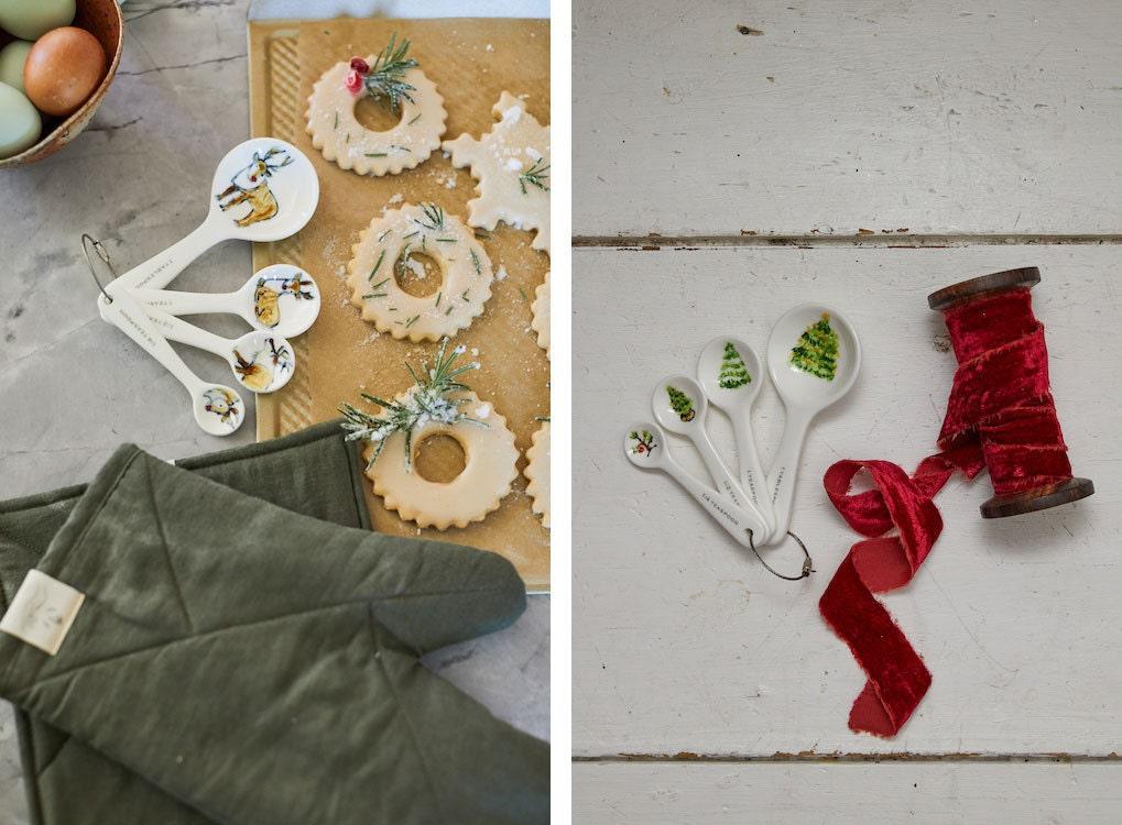 Ceramic reindeer and Christmas tree measuring spoons from 7 Doors Studio