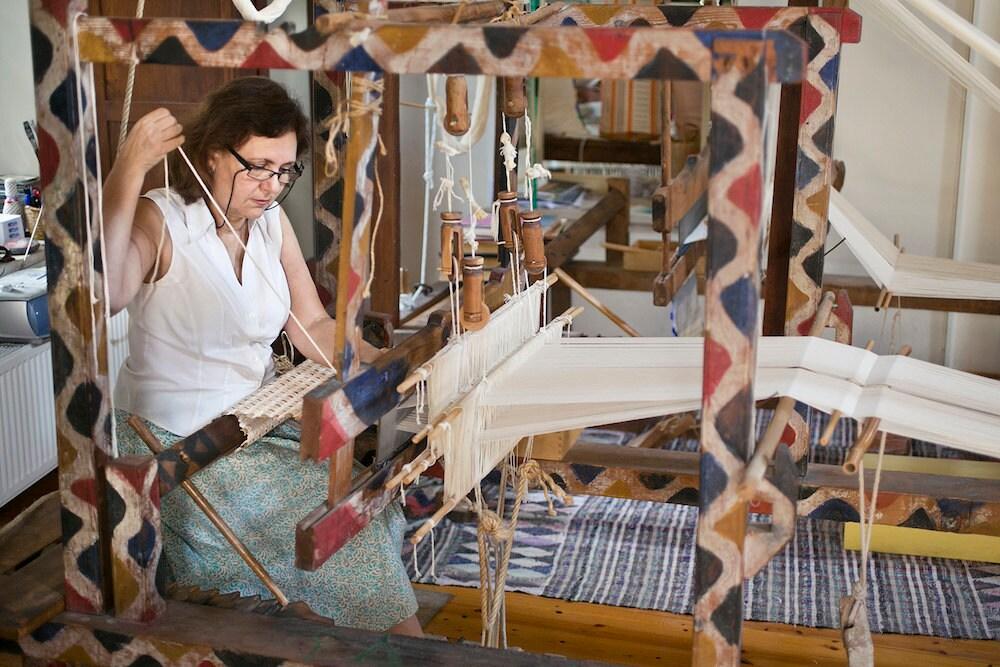 Weaver Julia Astreou in her studio