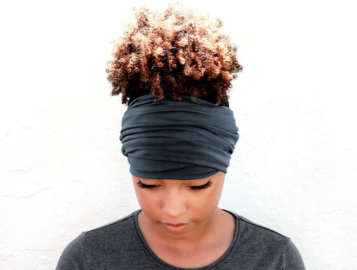 Graphite boho head wrap from Breezy Tee, on Etsy