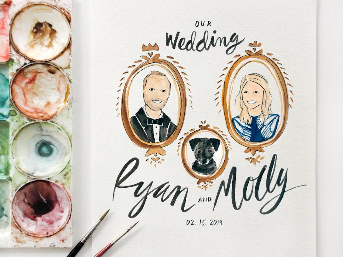 Custom watercolor wedding invitation from Public House Co.