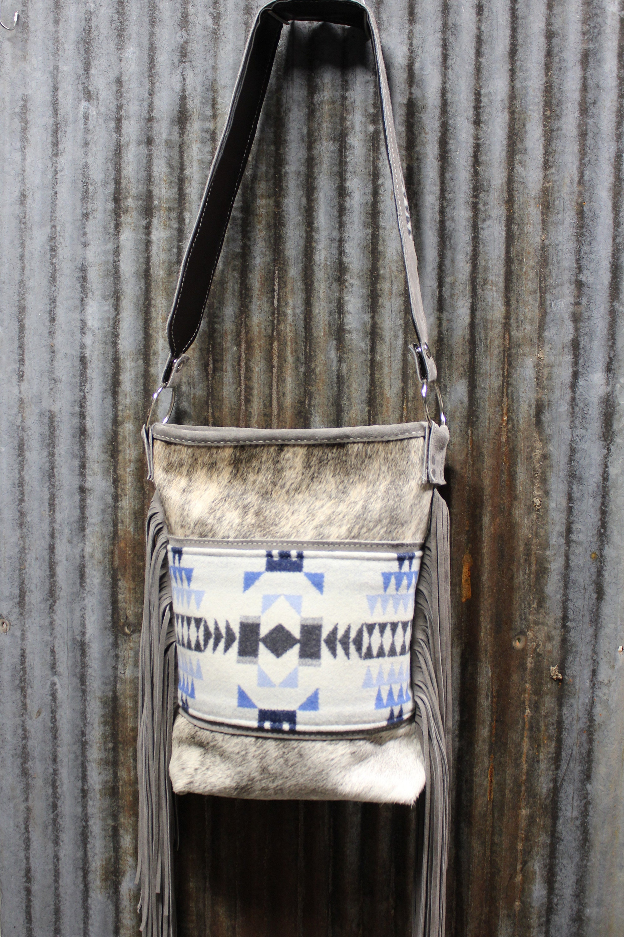 10fd2f61a Pendleton Wool fabric with Exotic gray brindle cowhide crossbody purse  designed by Stephany Miller