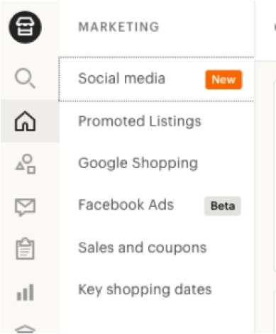 shop manager marketing menu on Etsy