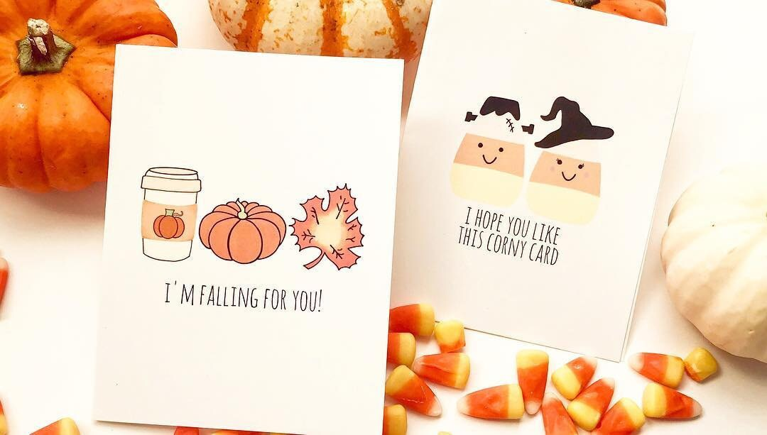 greeting cards, fall gifts, funny cards, wholesale cards, acouplepuns, angelica hanley