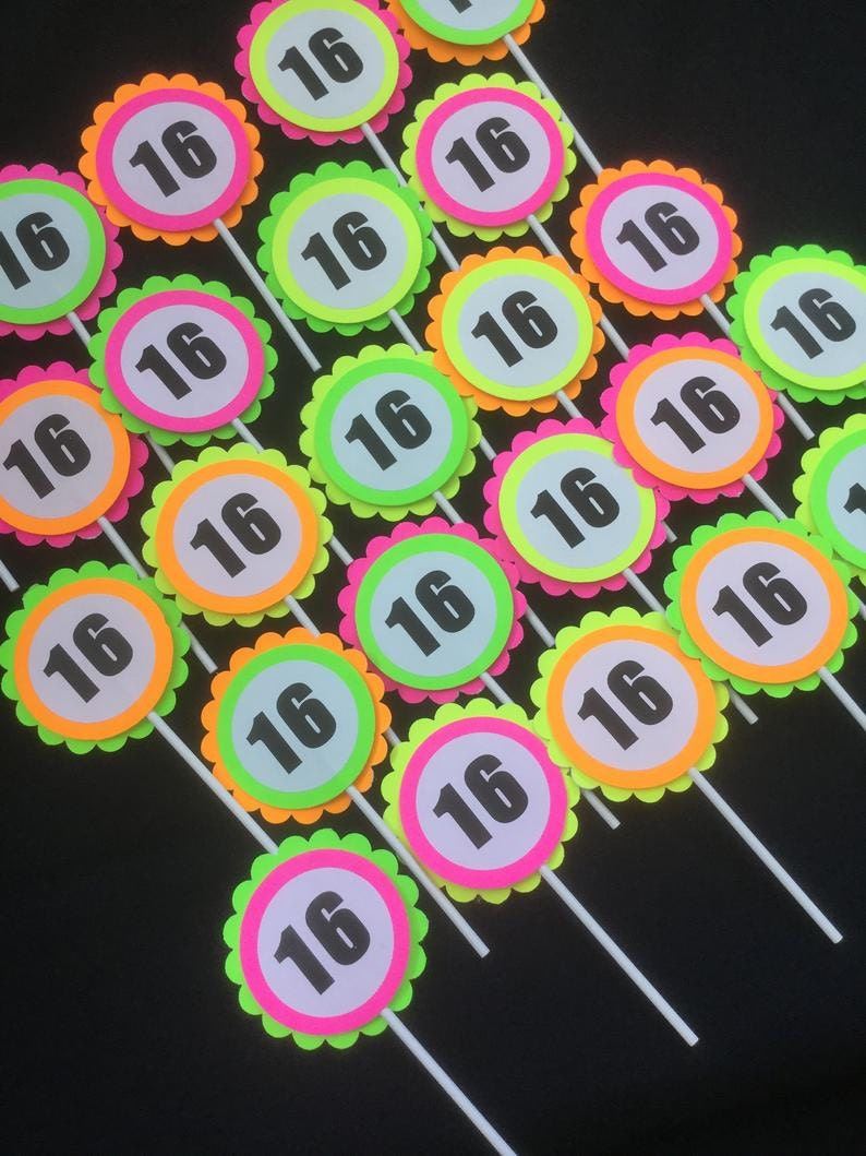 fluorescent neon cupcake toppers with 16