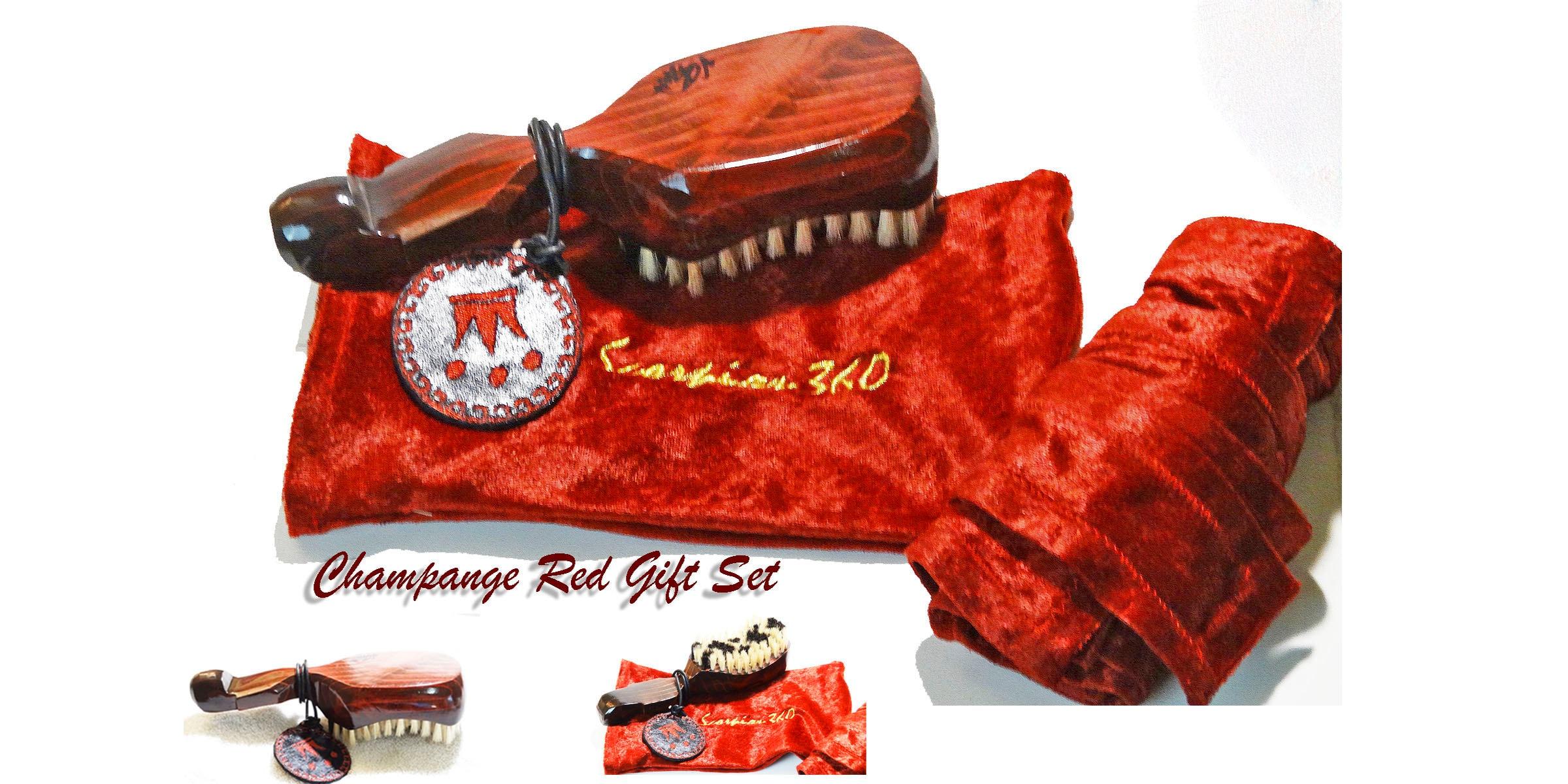 Champagne Red 10 Row Tight Hard-Medium Gift Set Kit, King Scorpion 360 Wave Brush, Velvet Du-Rag & New Scorpion 360 Brush Pouch