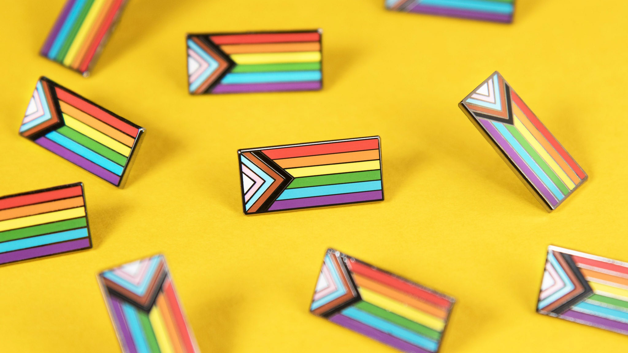 Progress Pride Flag Enamel Pin LGBT Inclusive Accessories