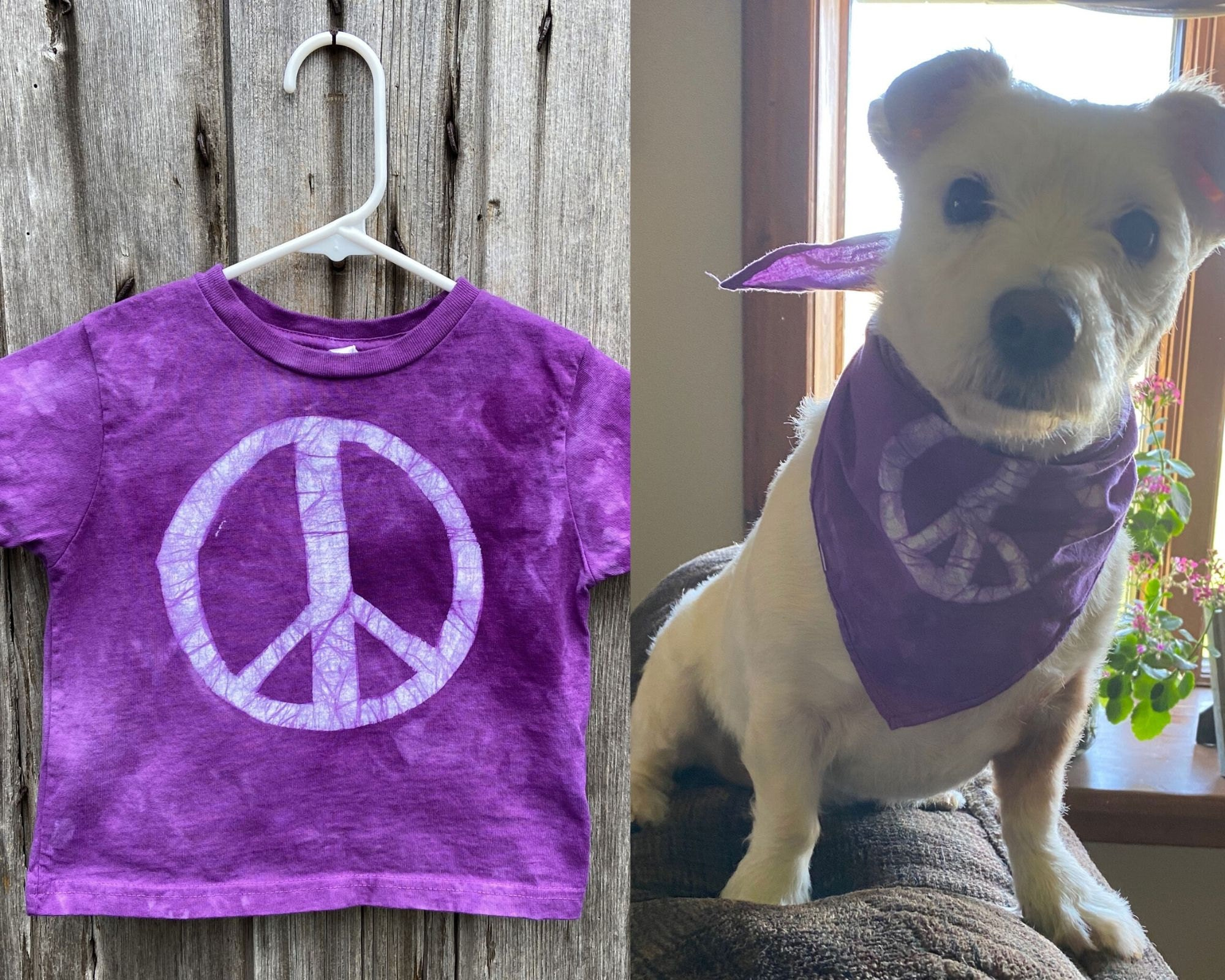 Peace, Baby! Batiks matching child and dog outfits