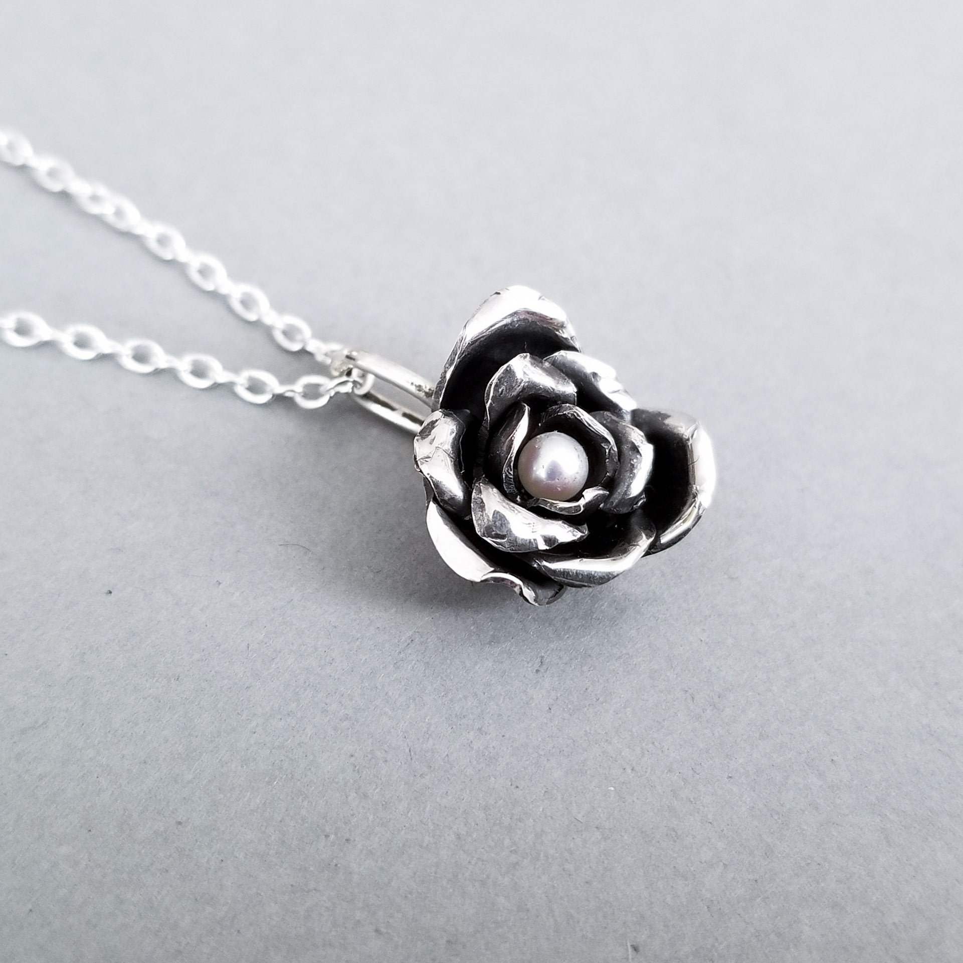 inchoo bijoux valentines day silver rose pearl pendant