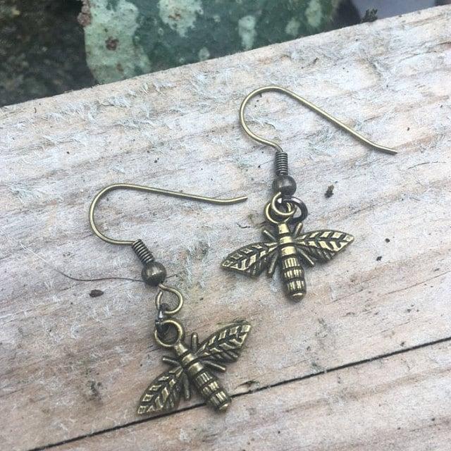 bronze dragonfly handmade earrings dojore