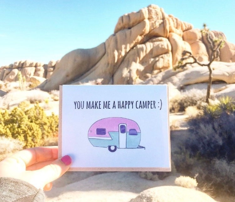 Happy camper, camper blogs, funny travel blogs, camper gifts, Joshua Tree, Visit Joshua Tree, Joshua Tree Photos, Angelica Demiris, ACouplePuns, Greeting Cards, WHolesale greeting cards