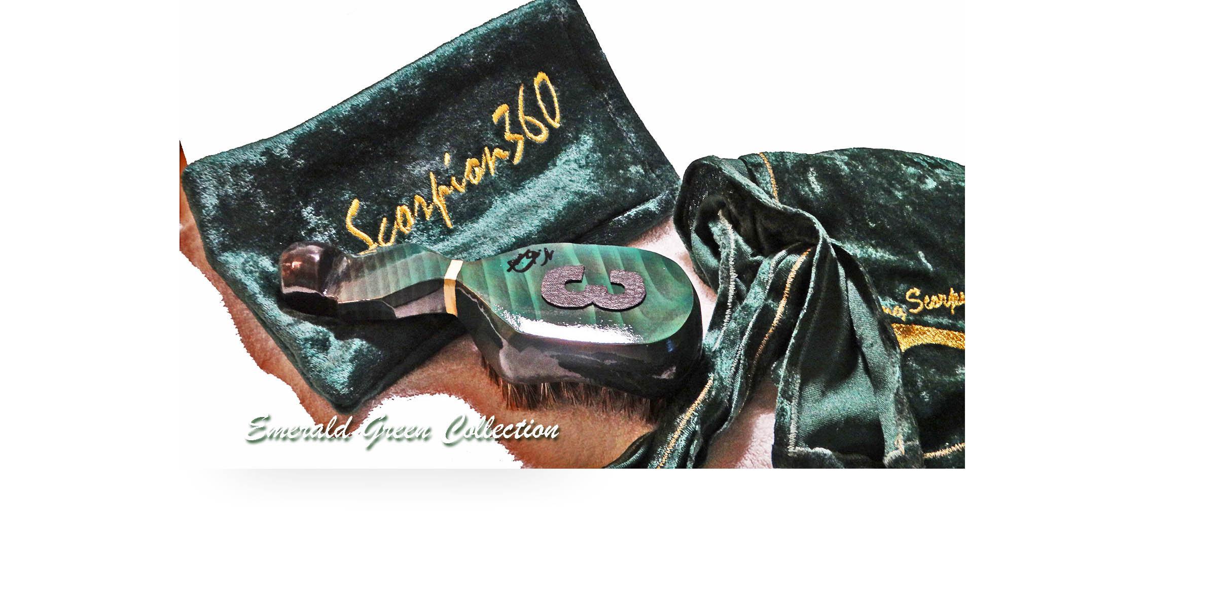 Medium Hard 360 Wave Brush, Fat-Lac Velvet Du-Rag, Velvet Pouch & 4 oz. Natural Hair Pomade - King Scorpion 360 Gift Package Bundle