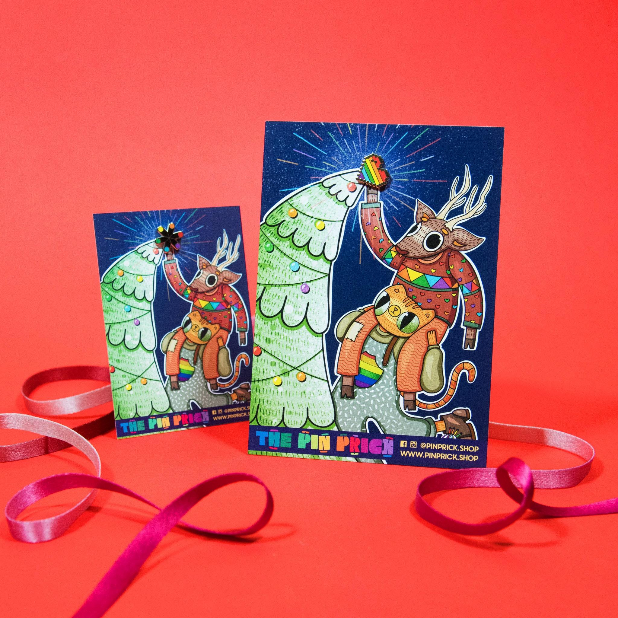 Ro Evergreen Enamel Pin Rainbow Christmas Backing Card Design