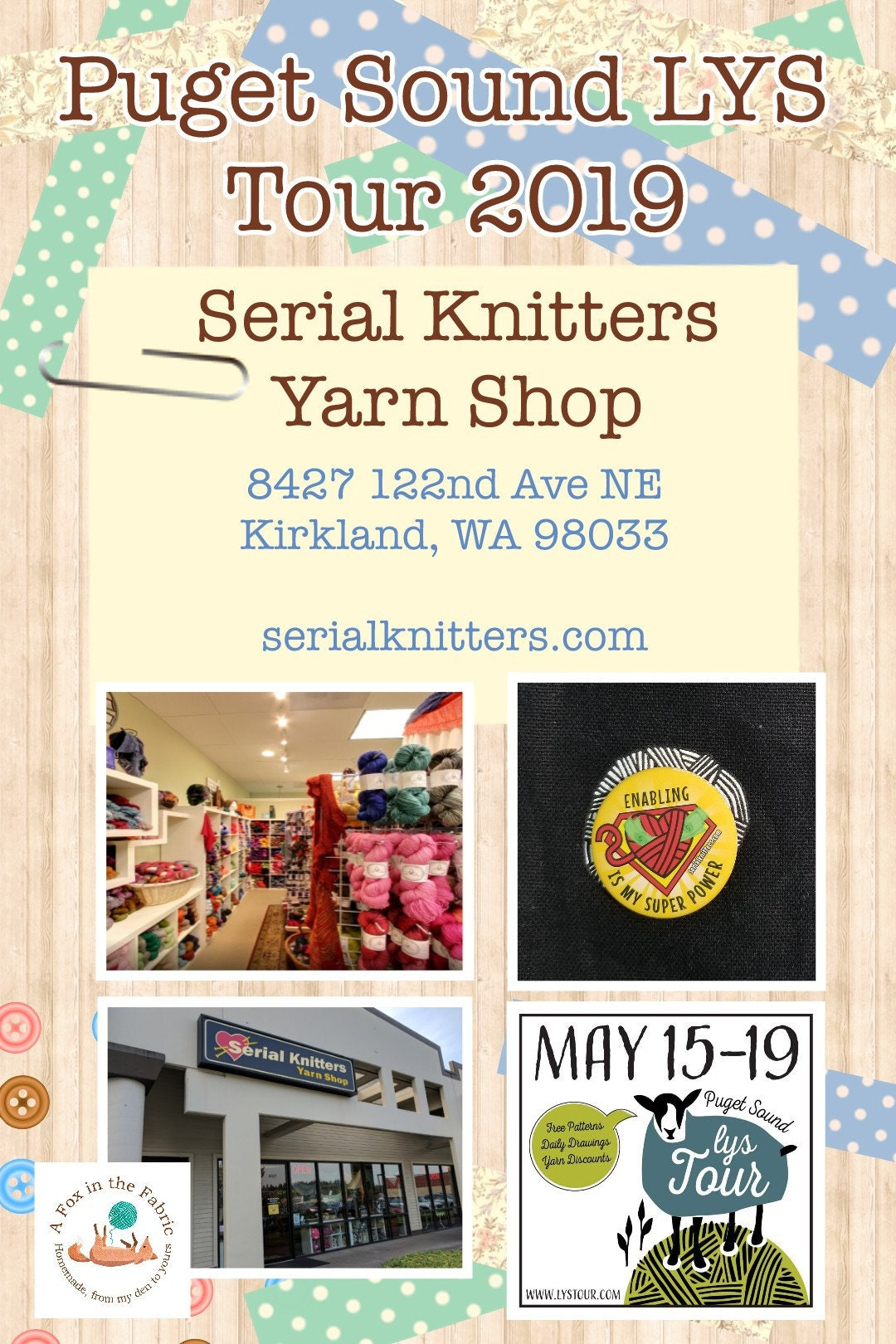 Puget Sound LYS Tour 2019 Serial Knitters Yarn Shop