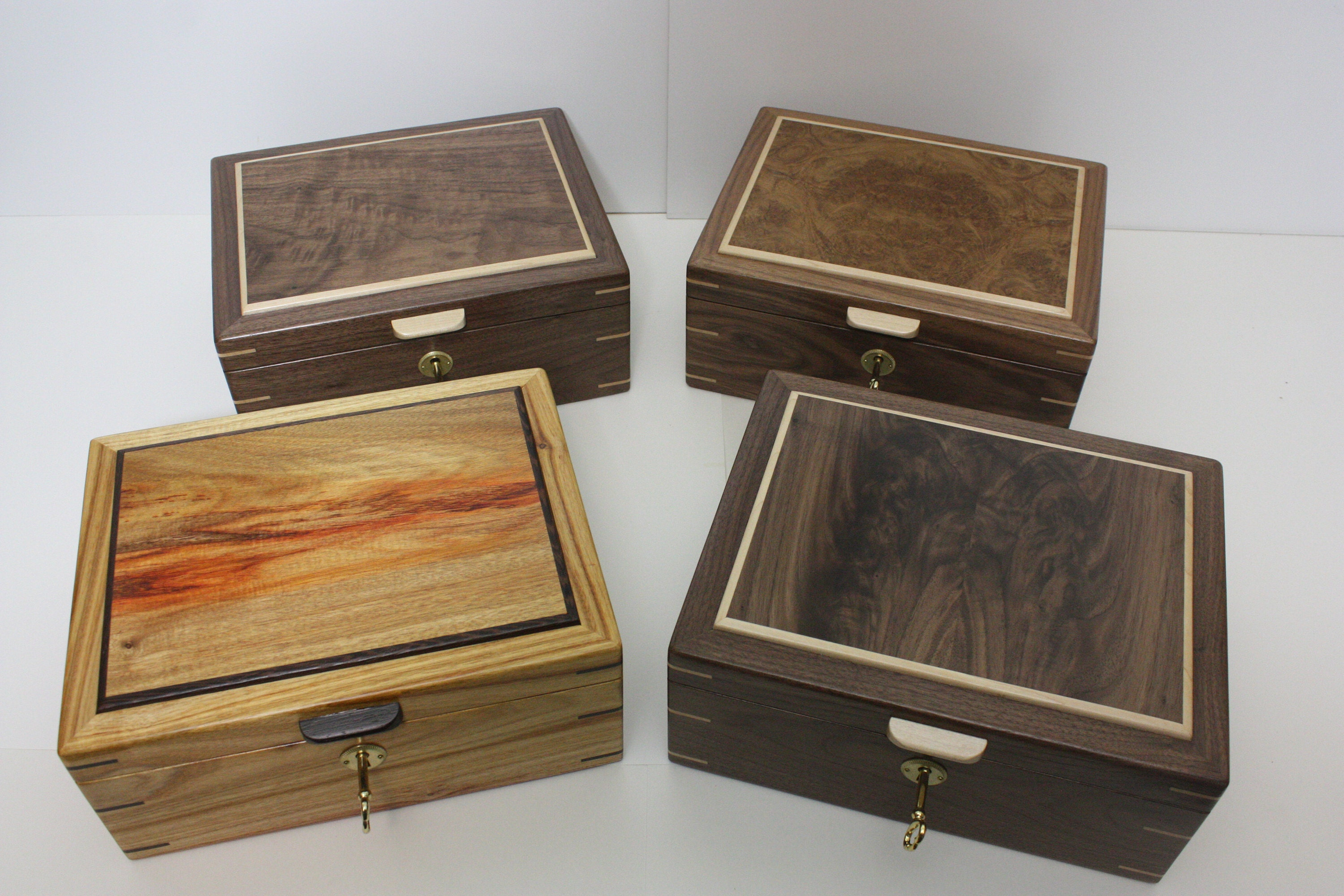 Black Walnut Locking Box For Sale Handmade BoxHandcrafted Wooden BoxBox With Lift Out TrayHandmade Tray And DividersMens