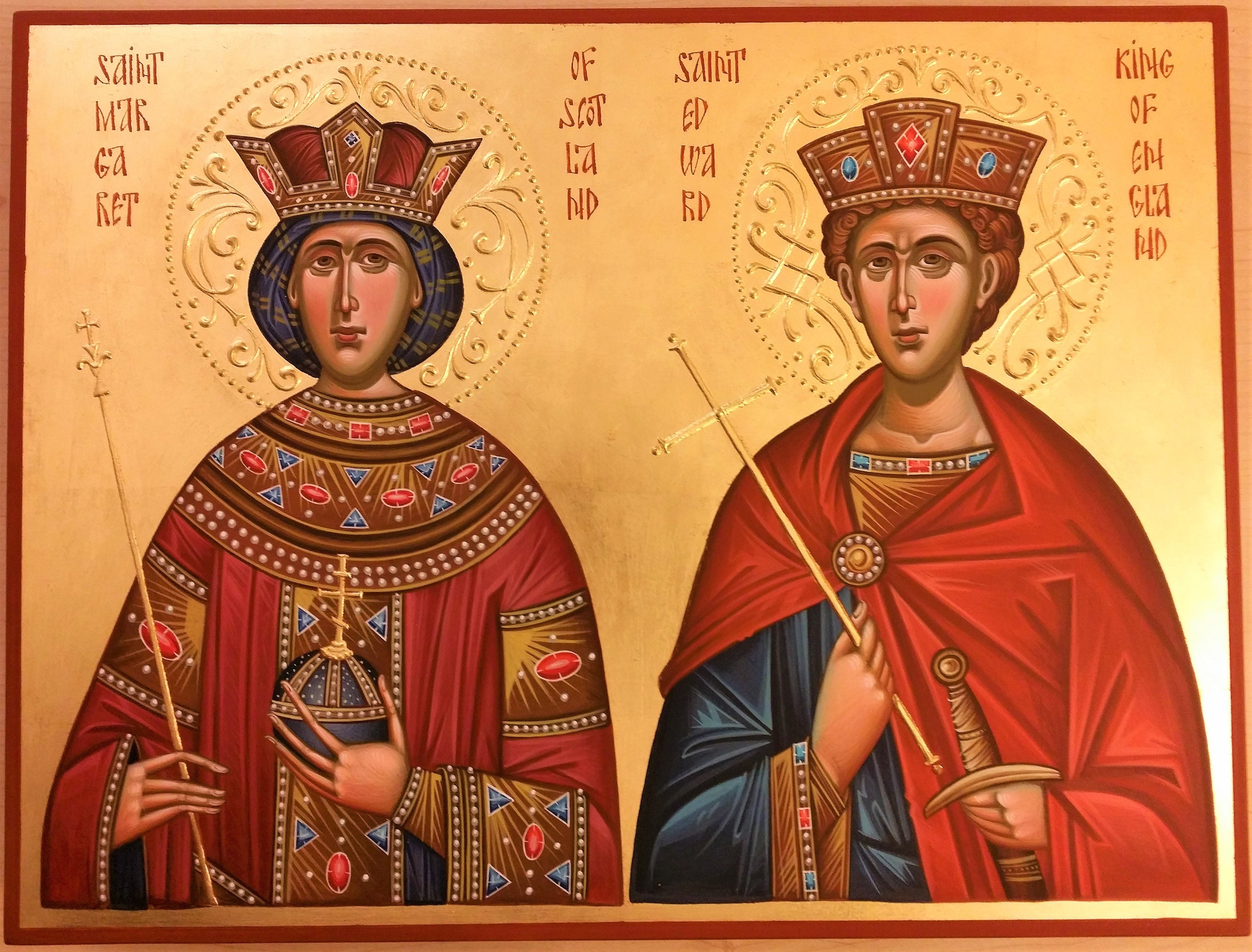 Saint Edward and St. Margaret hand-painted family icon