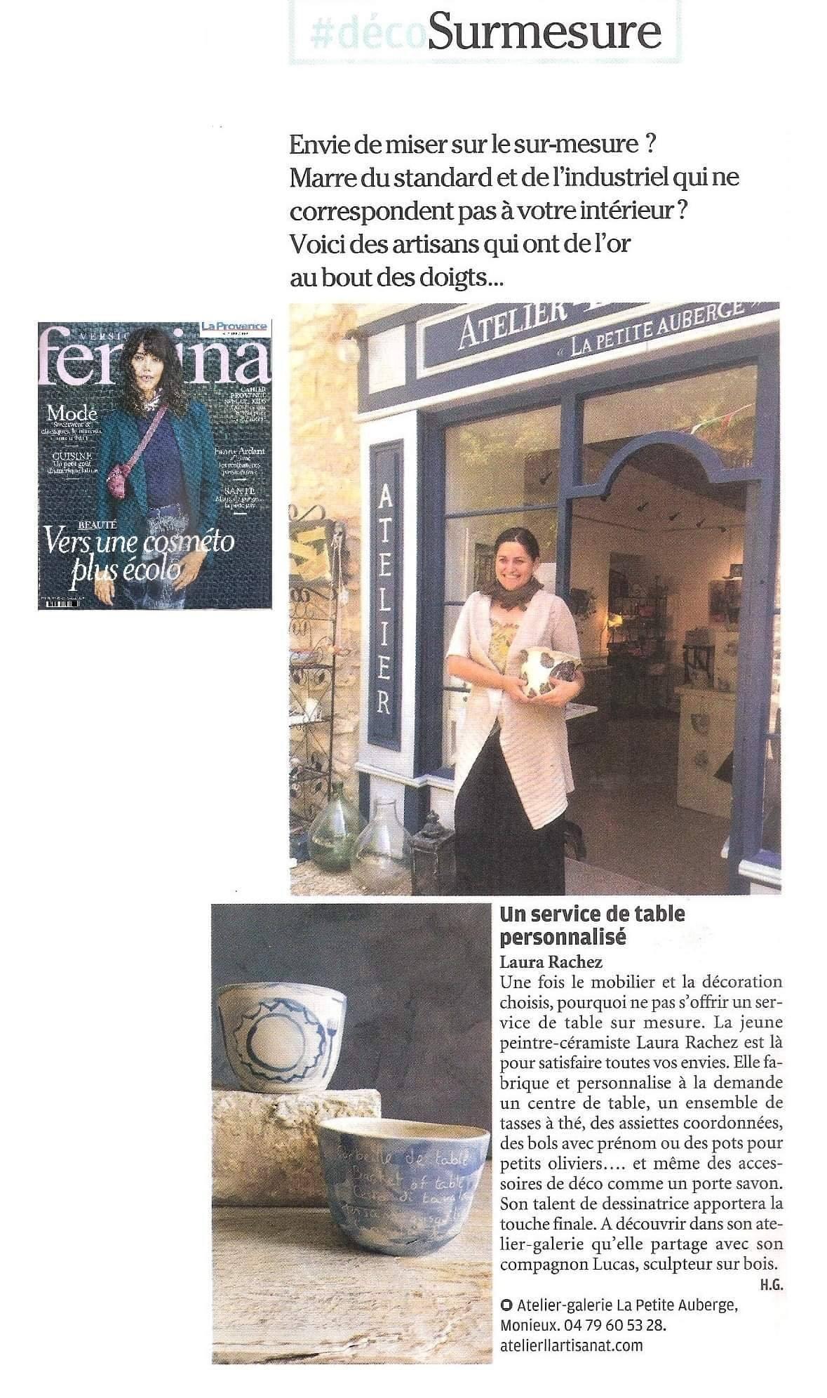 Article Version Fémina 2019, poteries personnalisée .