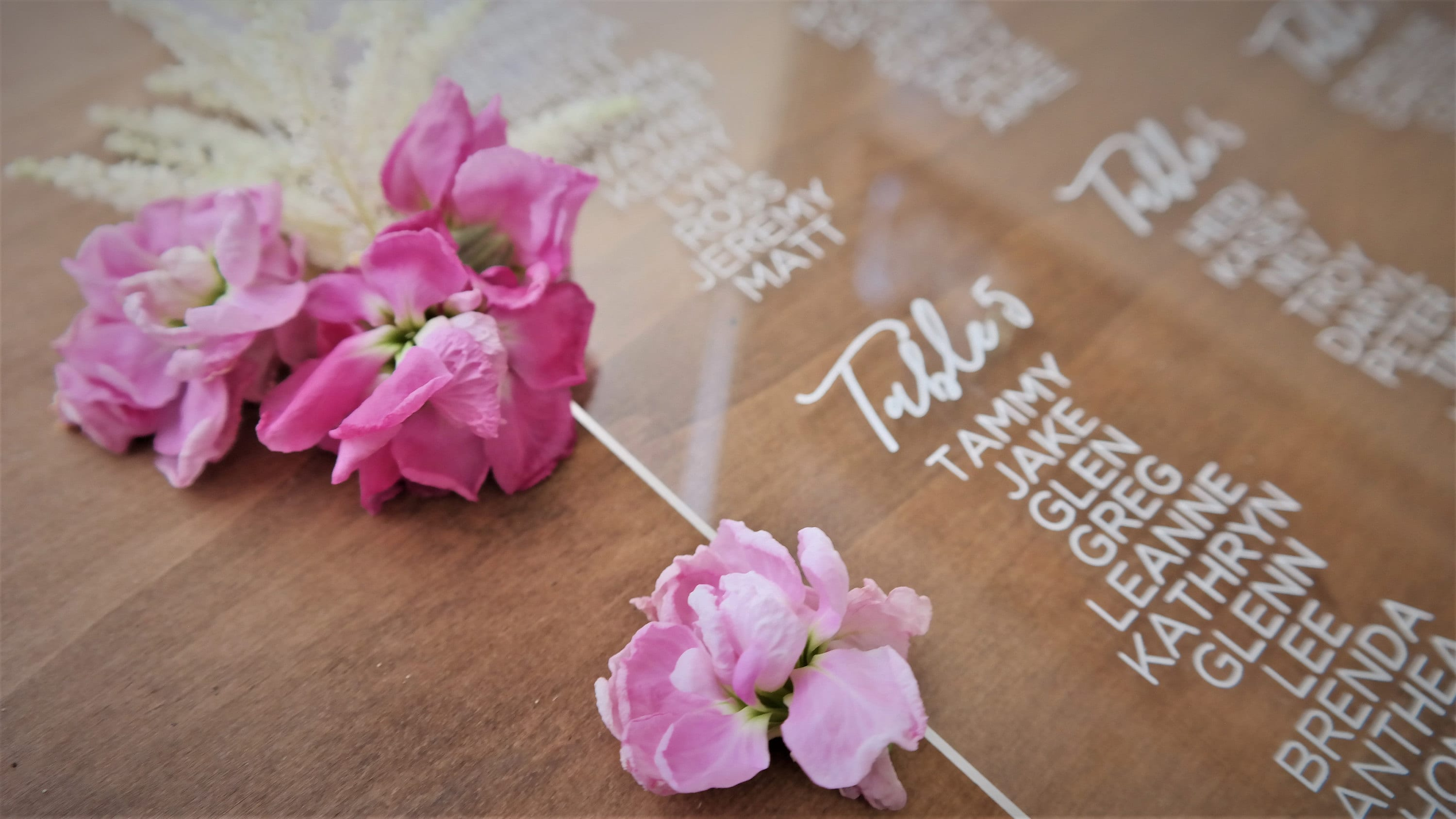Acrylic Seating chart - welcome sign