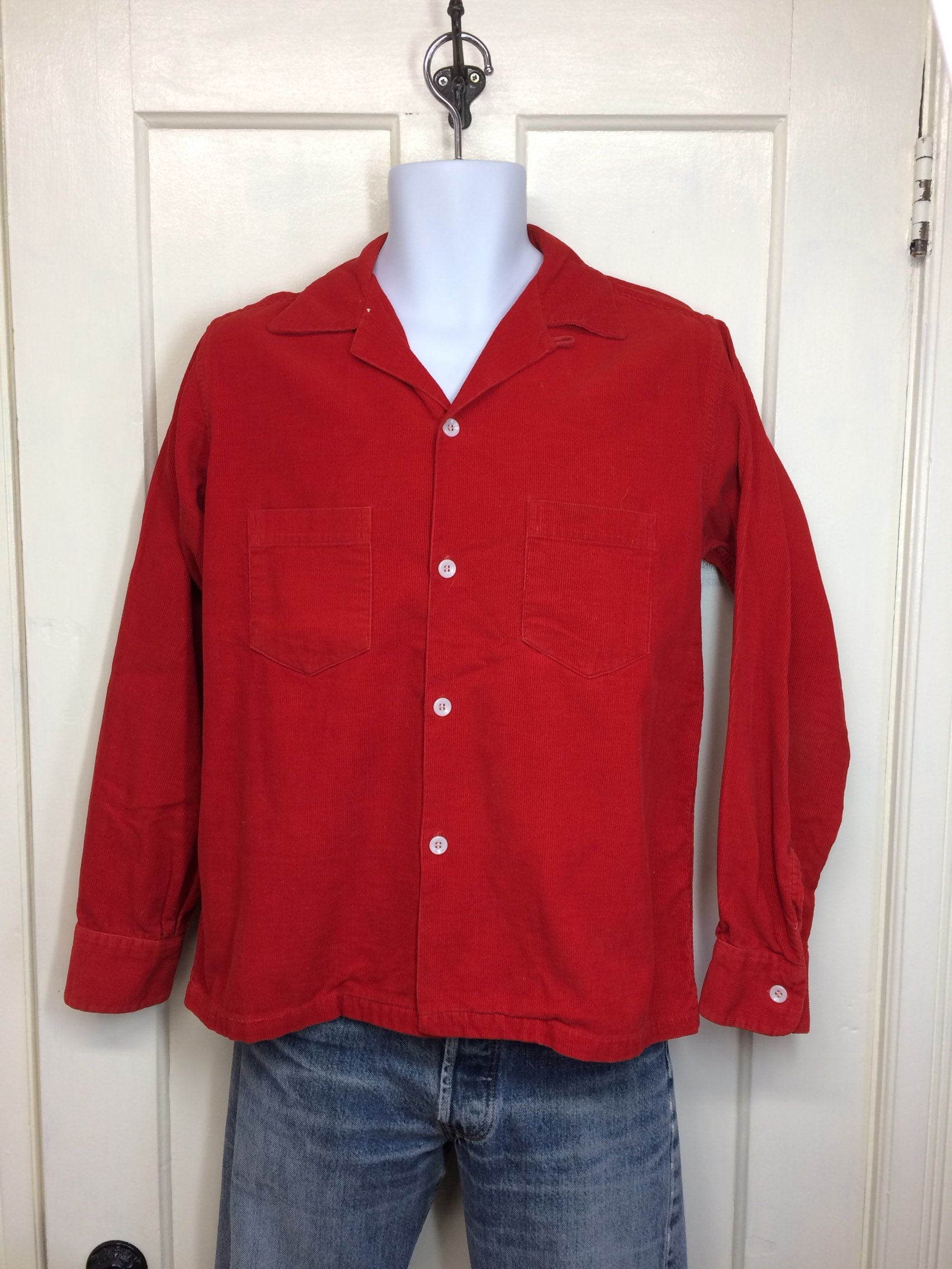 1950s blood orange corduroy shirt