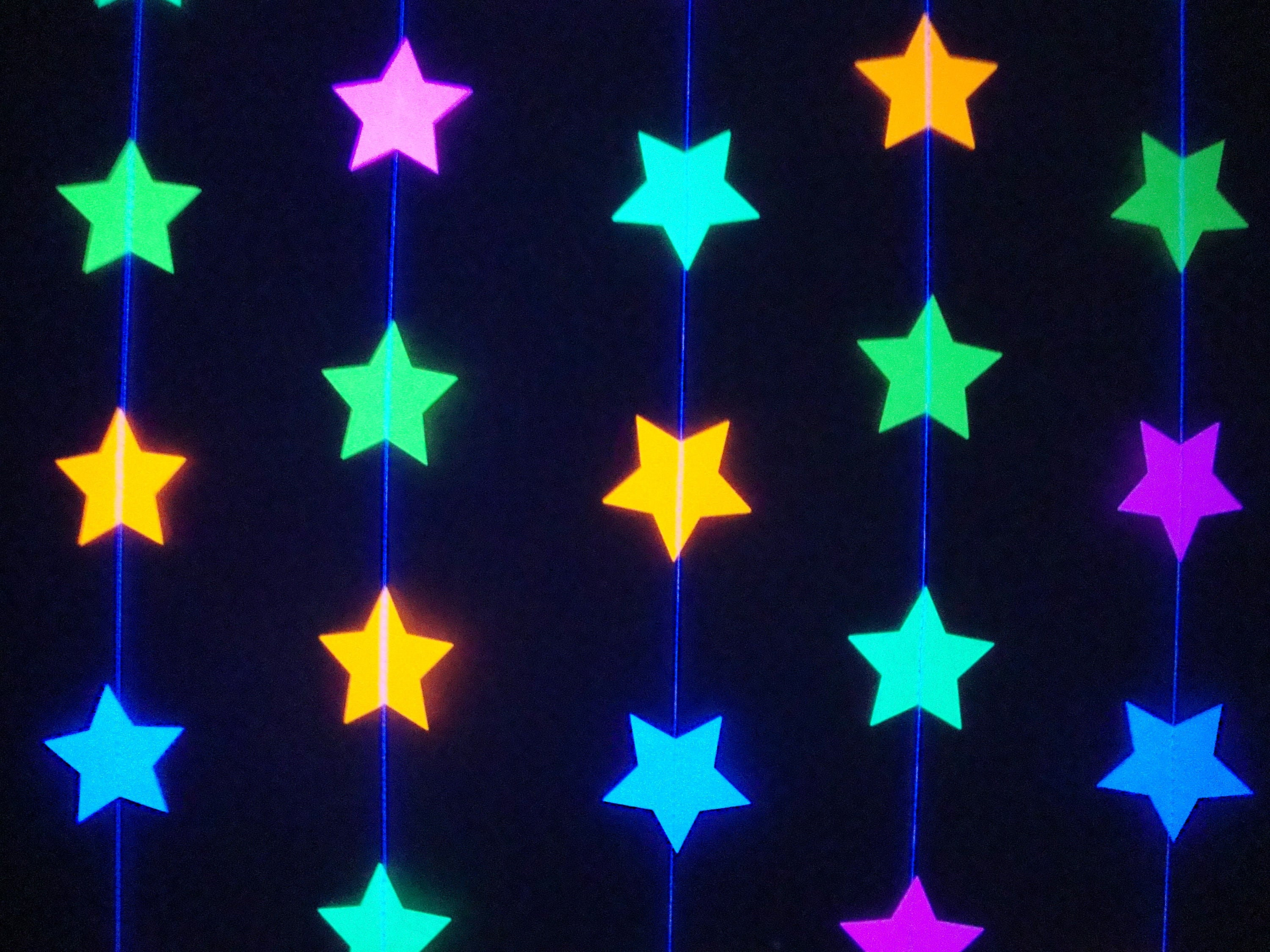 star neon fluorescent garlands for glow black light party