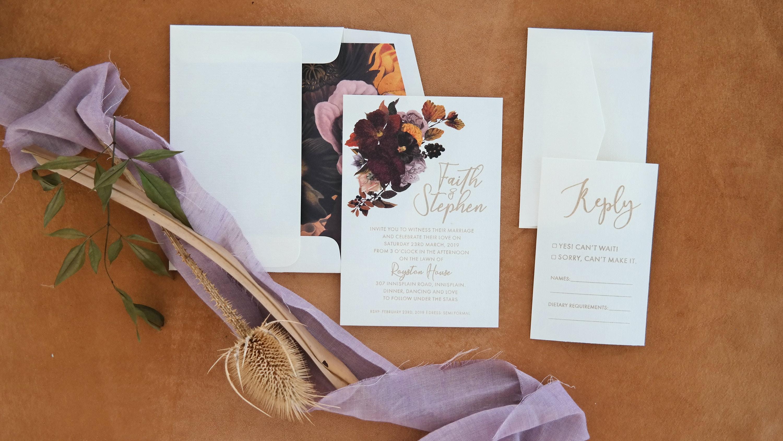 Auburn Plum wedding invitation suite