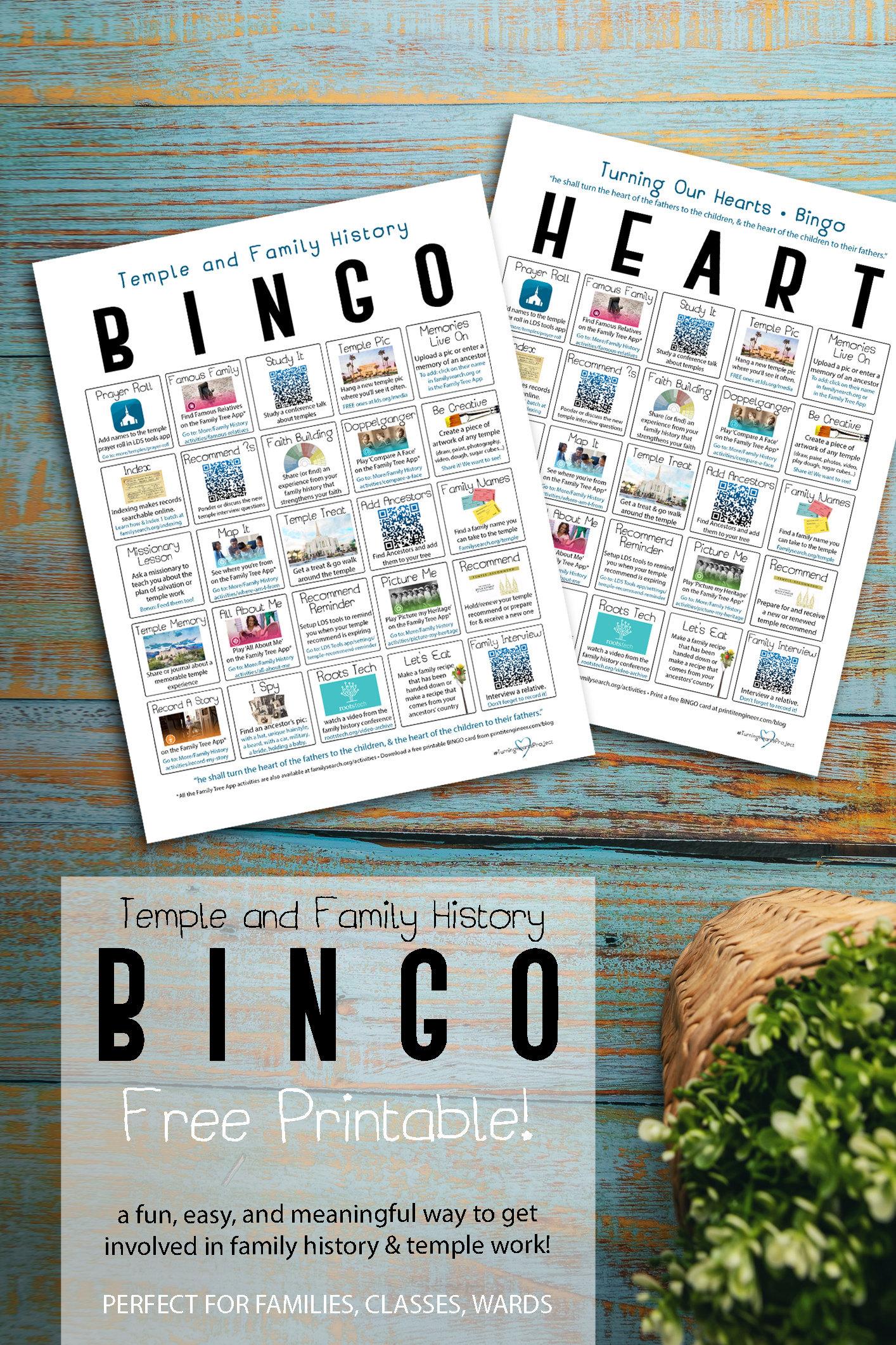 free printable download- Temple Family History Bingo