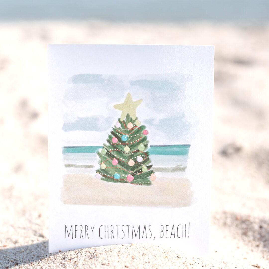 acouplepuns, holiday card, christmas cards, beach christmas card