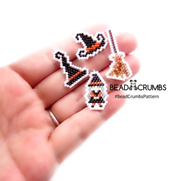 Witch, witch hat, witch broom, bead pattern set by Bead Crumbs. Pattern copyright 2018,