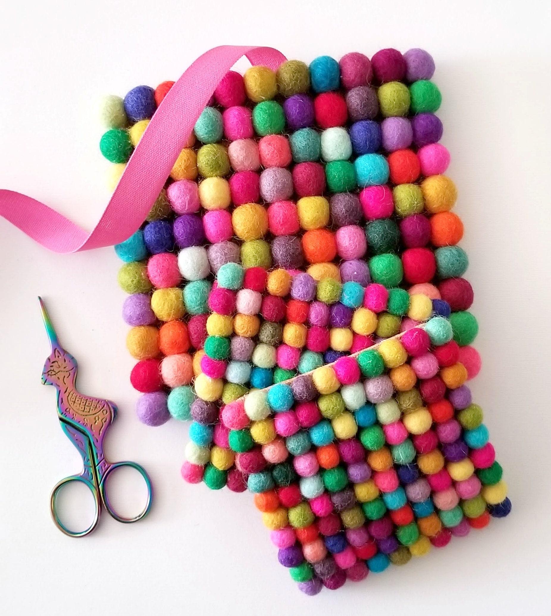 Happy Color Felt Ball Coasters ♥