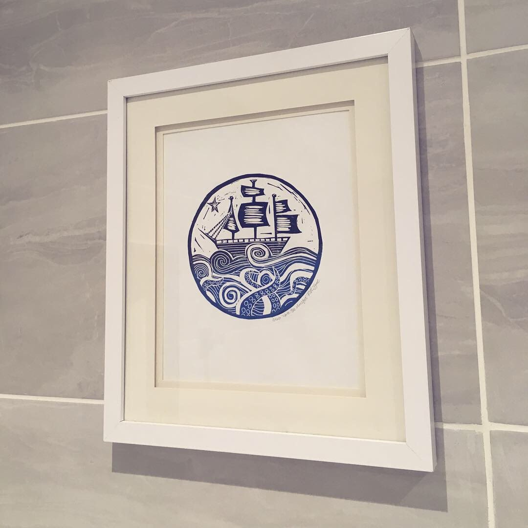My Here be Monsters print looking lush in a customers home
