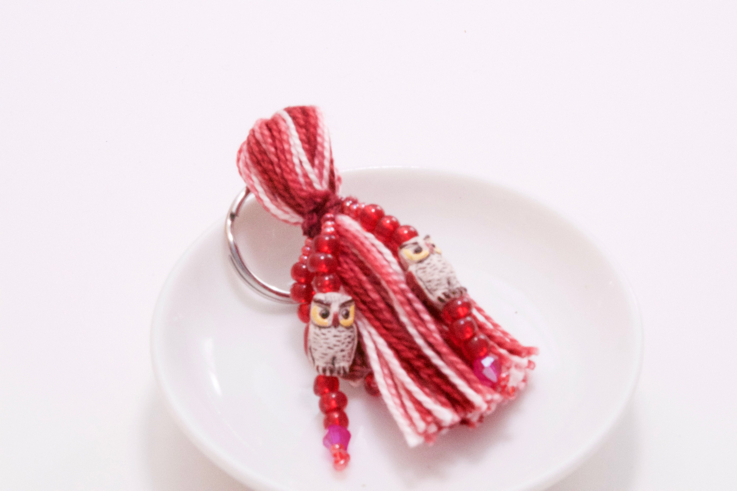 Red owl beaded tassel keyring