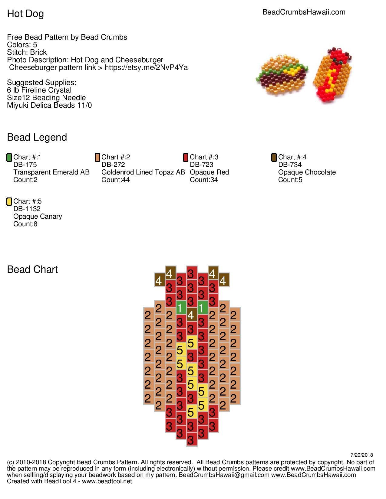 Free brick stitch hot dog bead pattern by Bead Crumbs