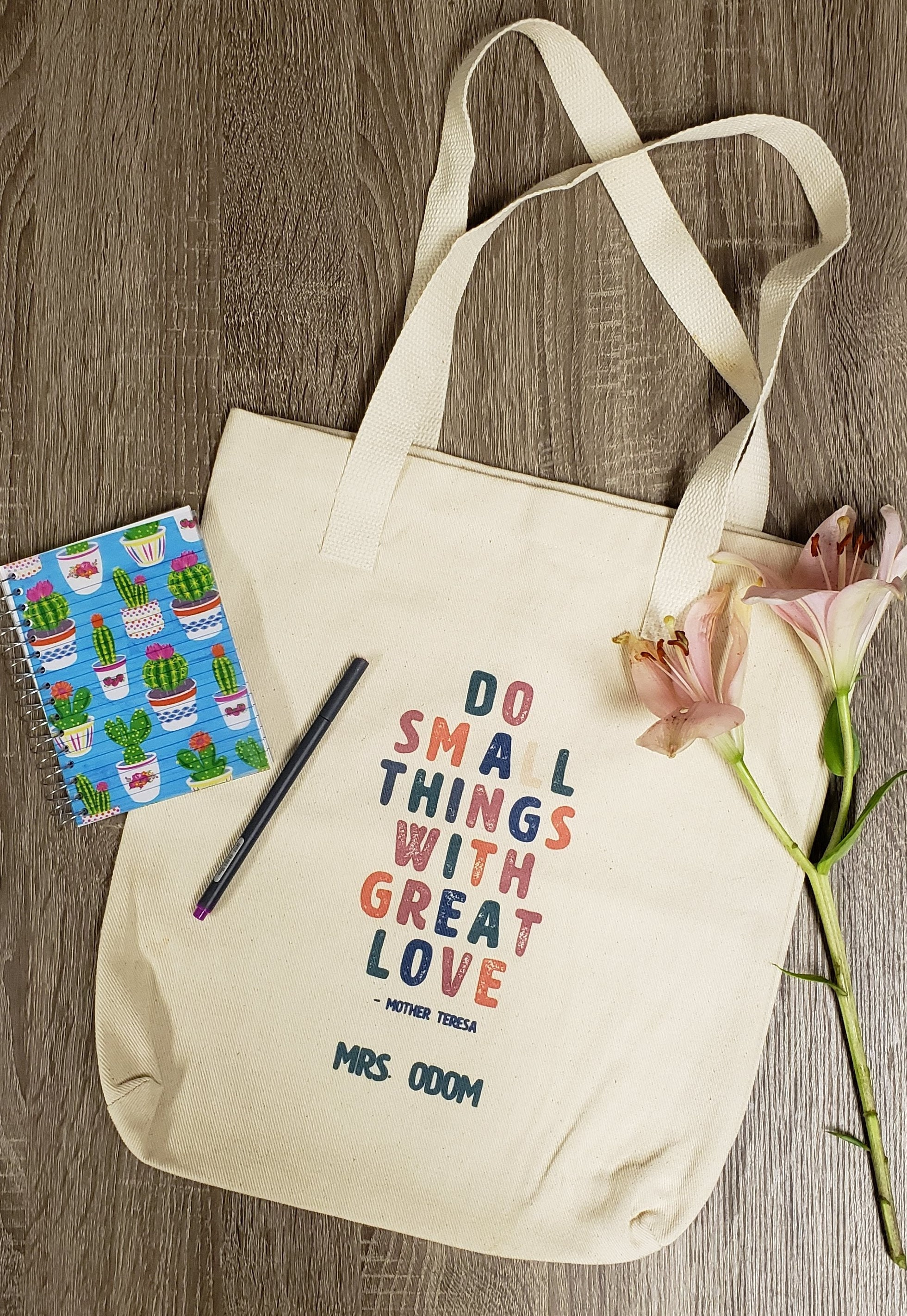Do Small Things With Great Love Cotton Tote Bag | Mother Teresa | Catholic Gifts | Graduation Gifts | Teacher Gifts
