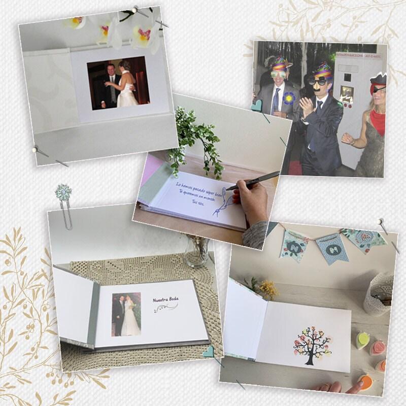 Foto con los usos que se le pueden dar a un álbum: libro de firmas, árbol de huellas, fotomatón