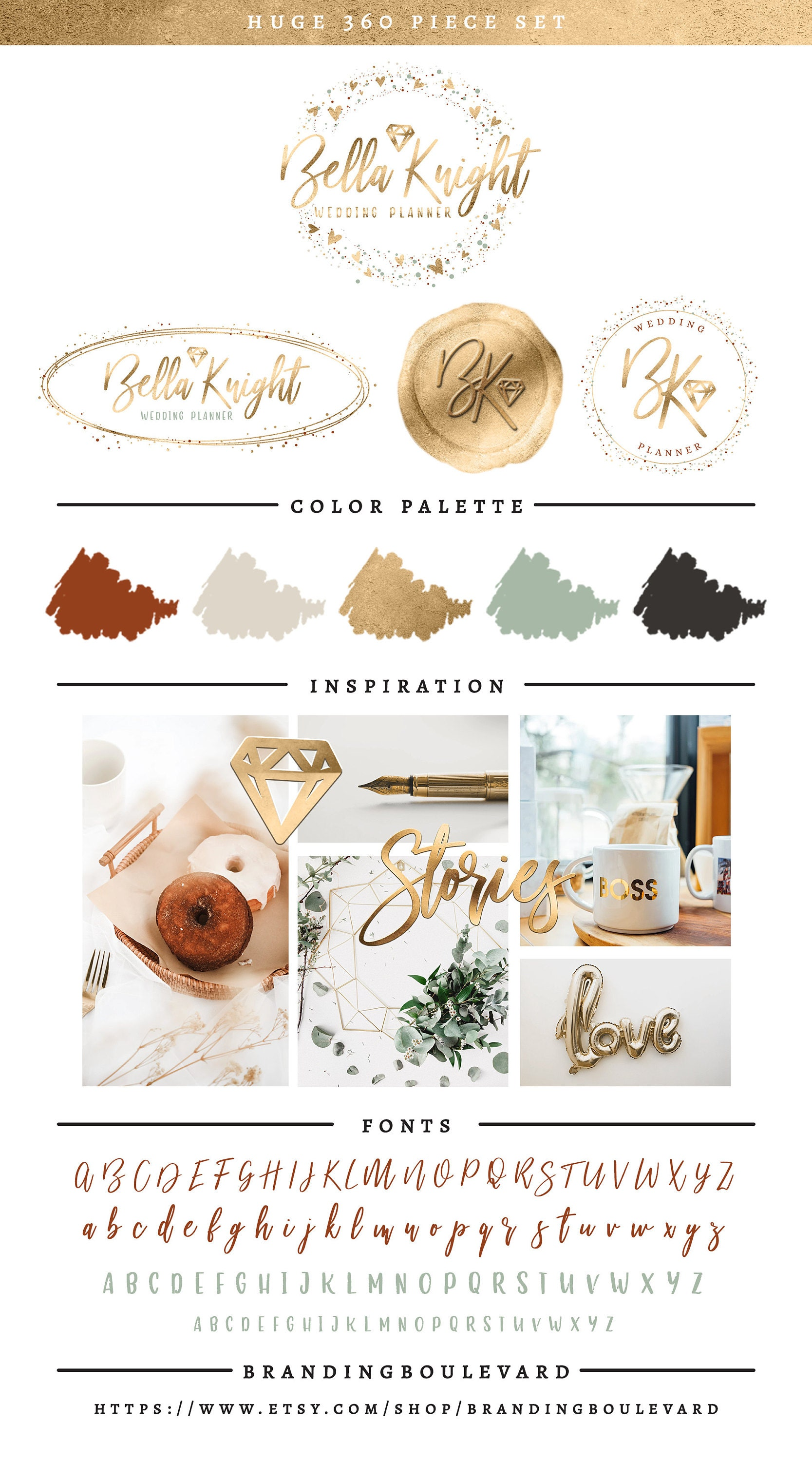 Bella Knight Logo Package - Elegant Diamond Wax Seal Logos - For Wedding or Jewelry Boutiques