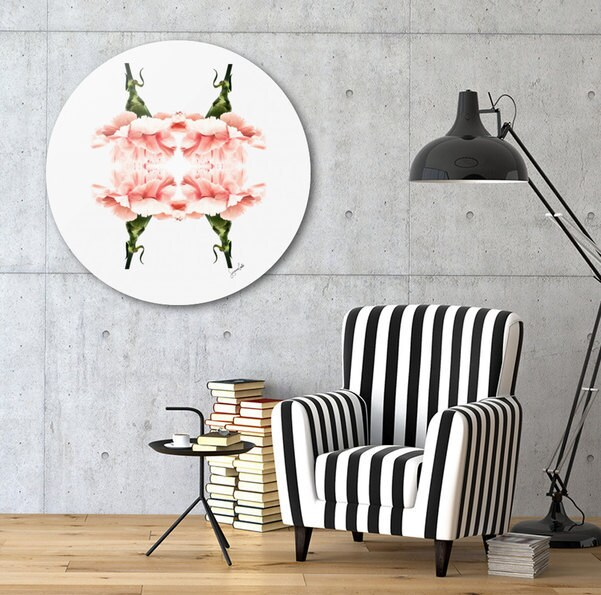 Pink Carnations round wall art