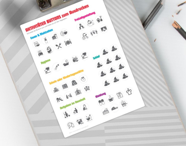 Stickerbogen mit Tagesroutinen für Vorschule und KiTa