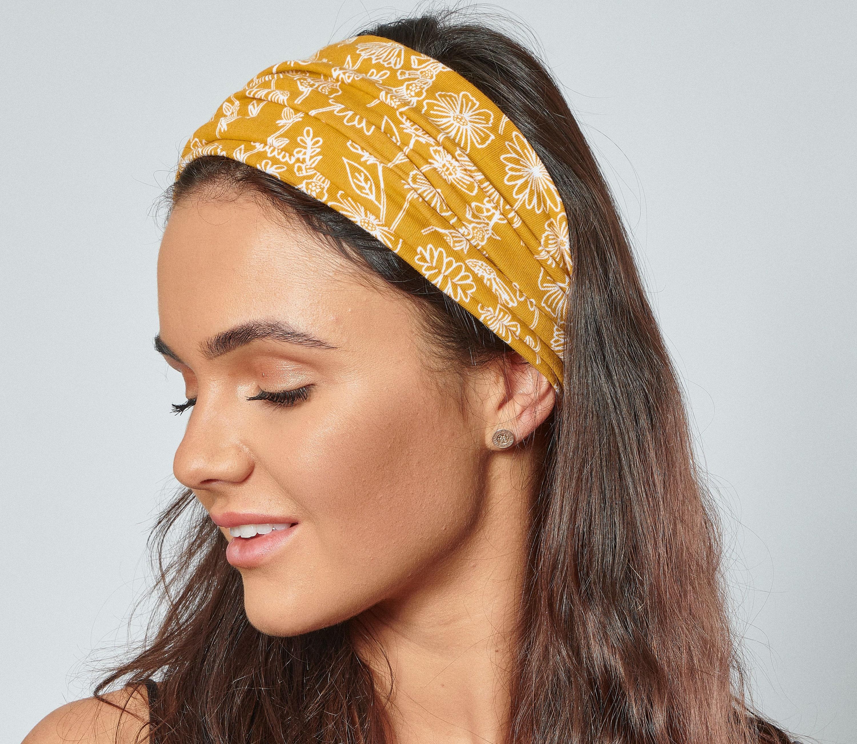 Mustard organic cotton floral headband