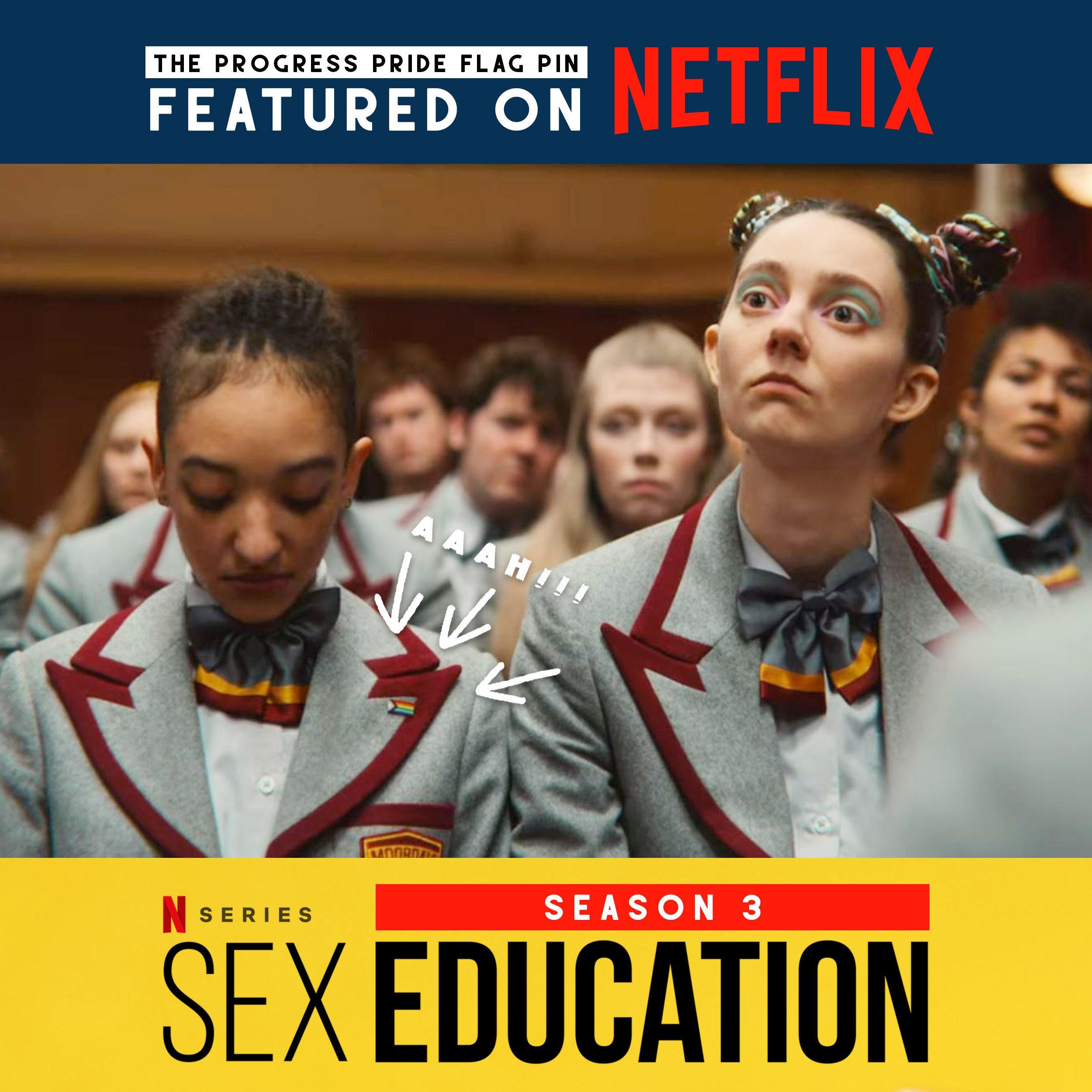 Sex Education Season 3 Badge Ola Rainbow Enamel Pin Lily Uniform