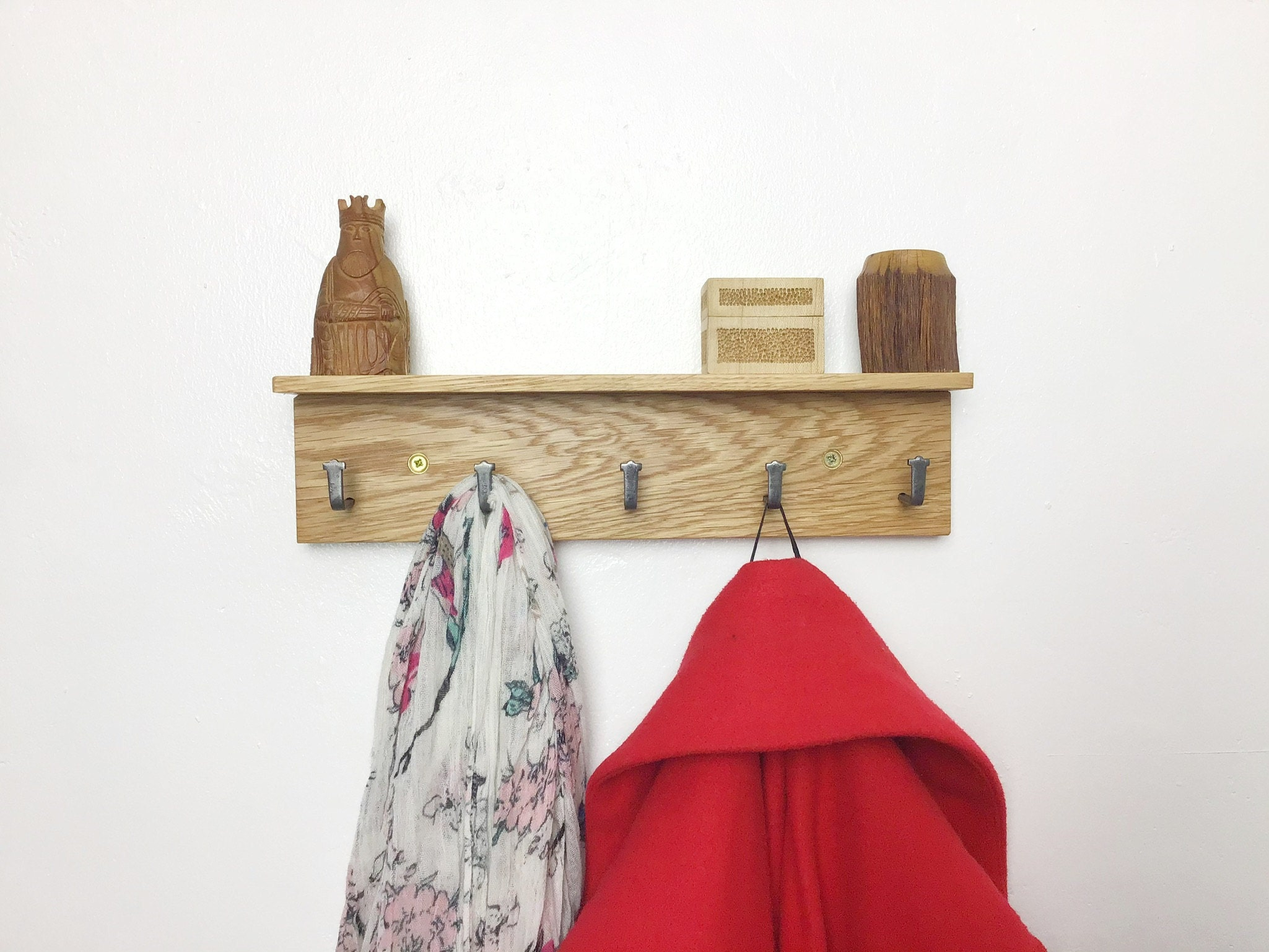 MICRO light Oak coat rack 33cm wide but 5 strong hooks - made in UK