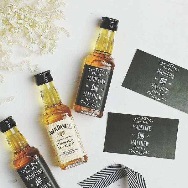 Free Printable Wedding Favor Mini Whiskey Bottle Labels