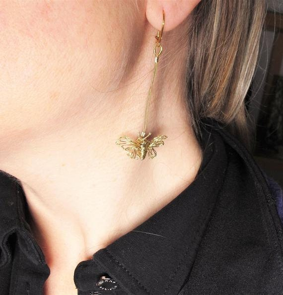 14k gold butterfly earrings, modern art jewelry