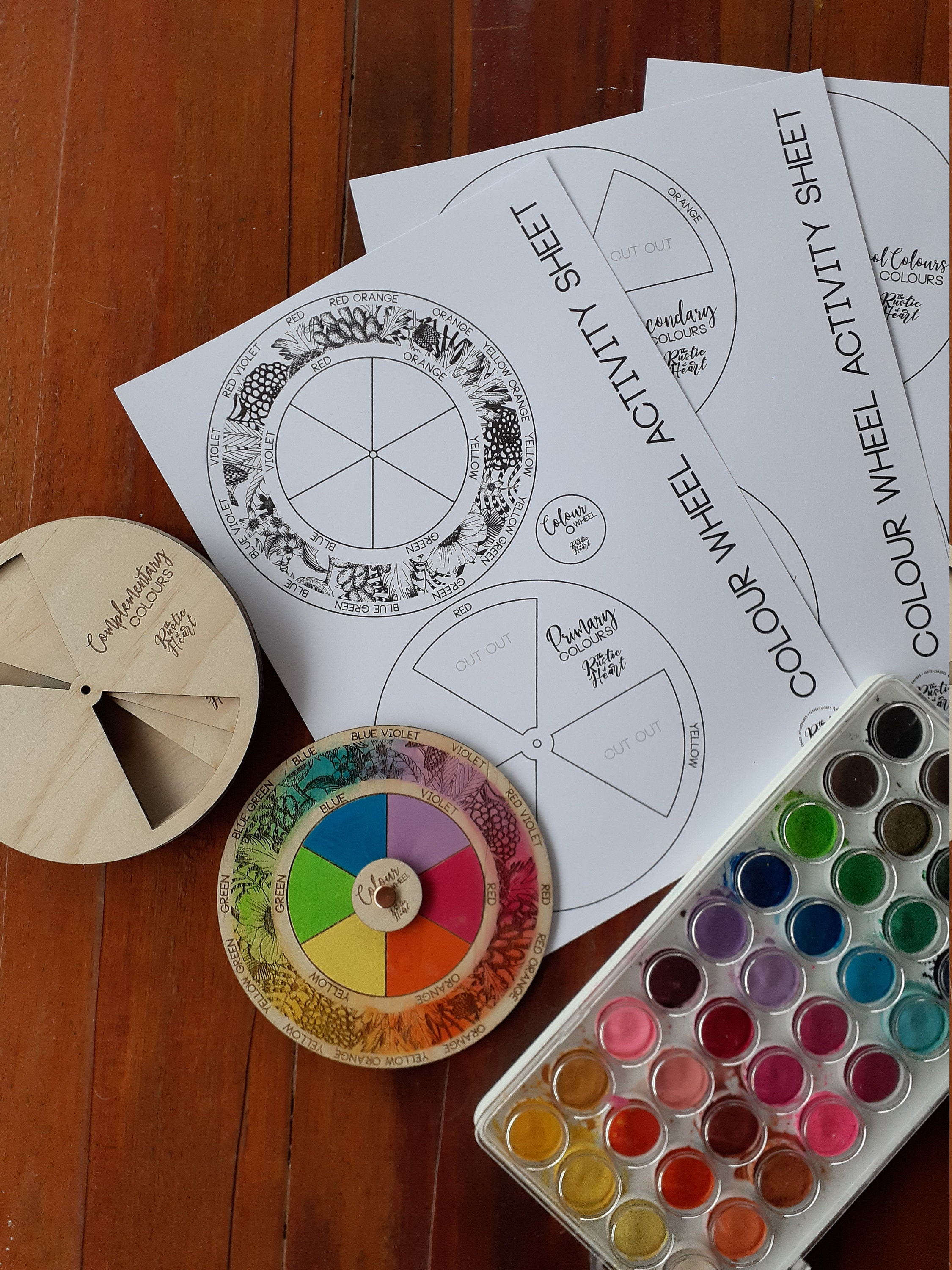 Watercolour painted Colour Wheel