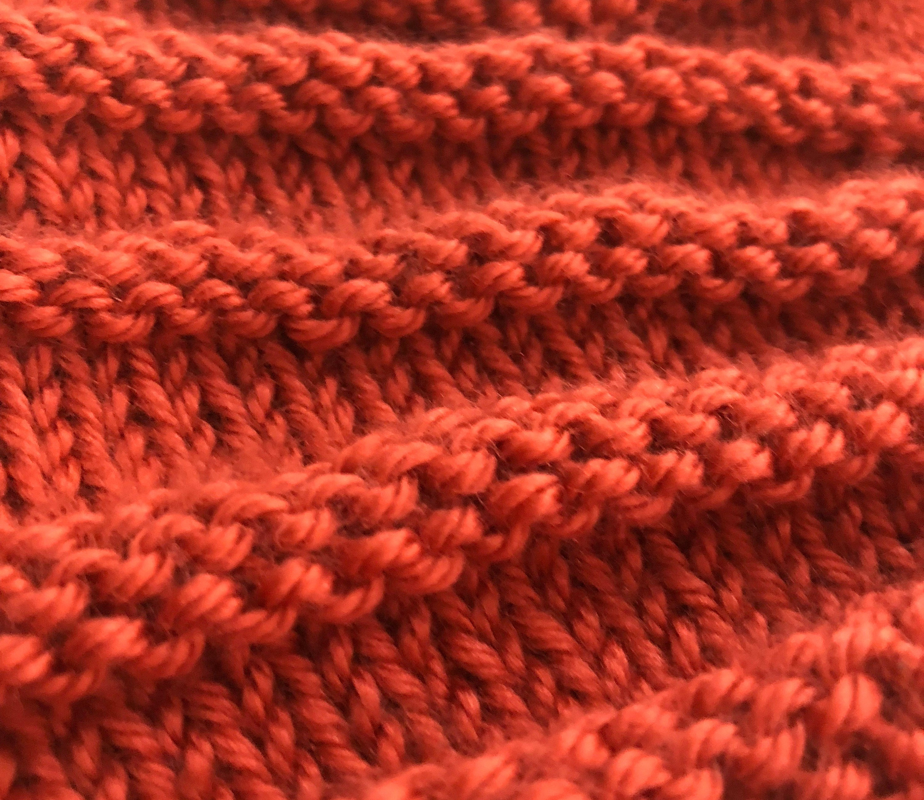 Close up detail of knitted hat