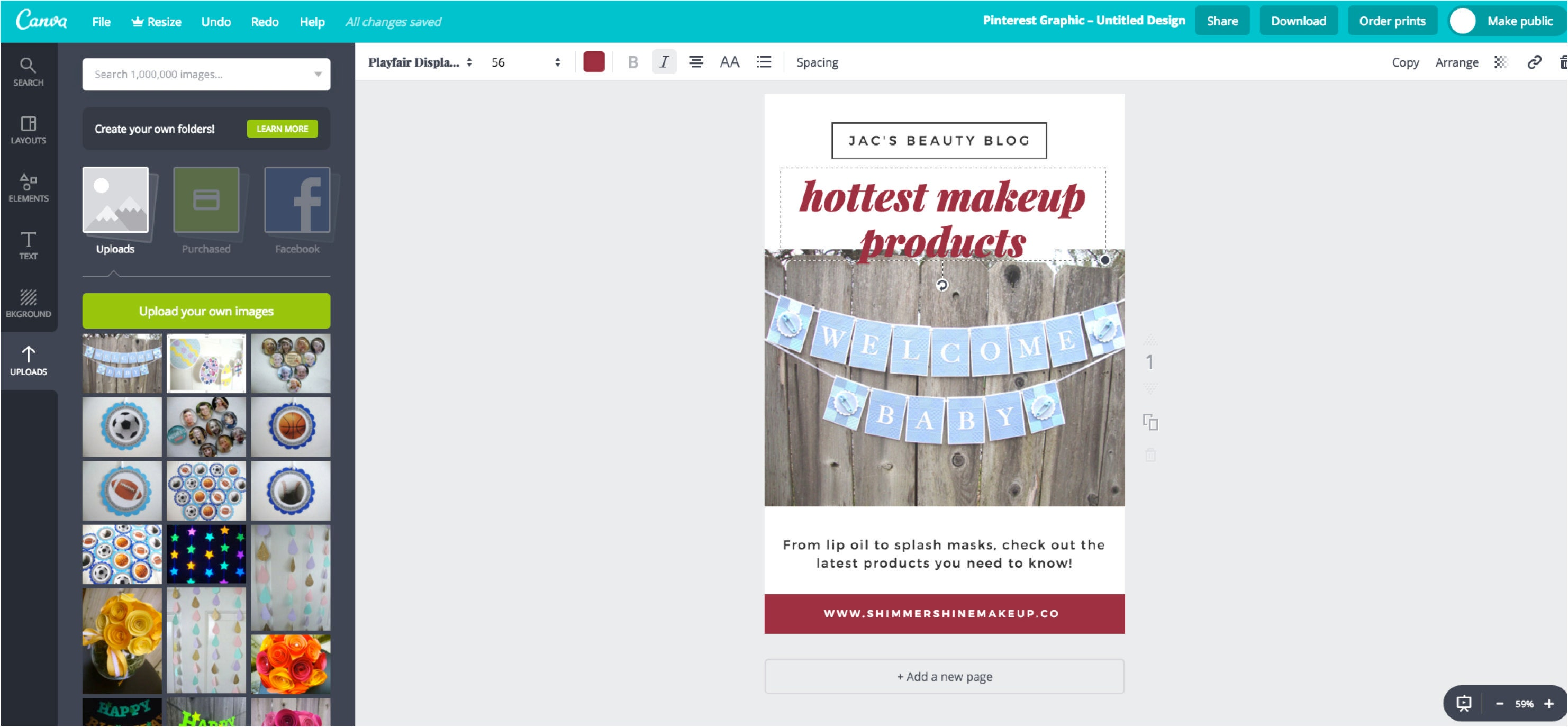 Changing the font in a Canva design
