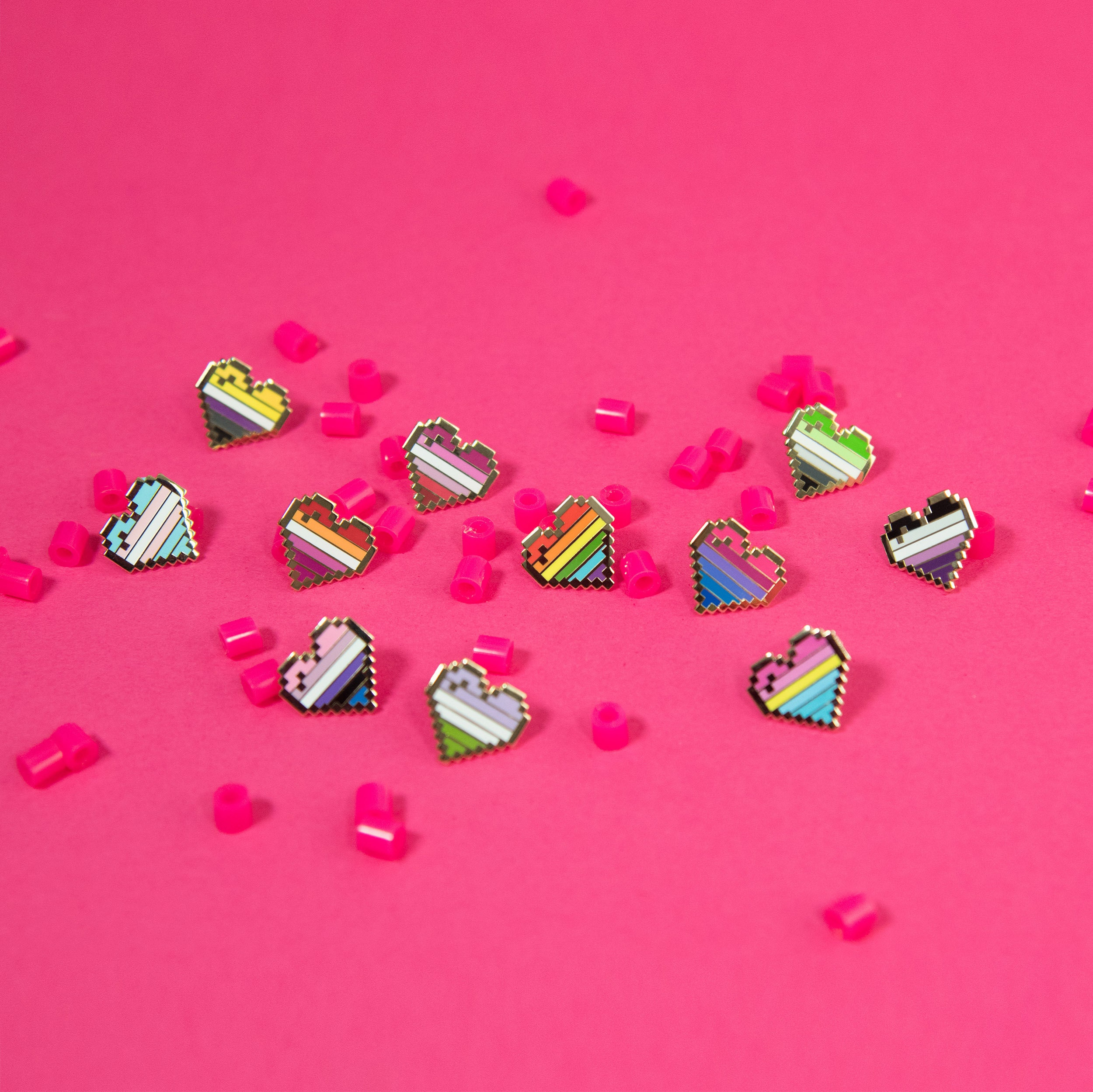 Rainbow Pixel Heart Pins London UK Pride Accessories Gay Badge