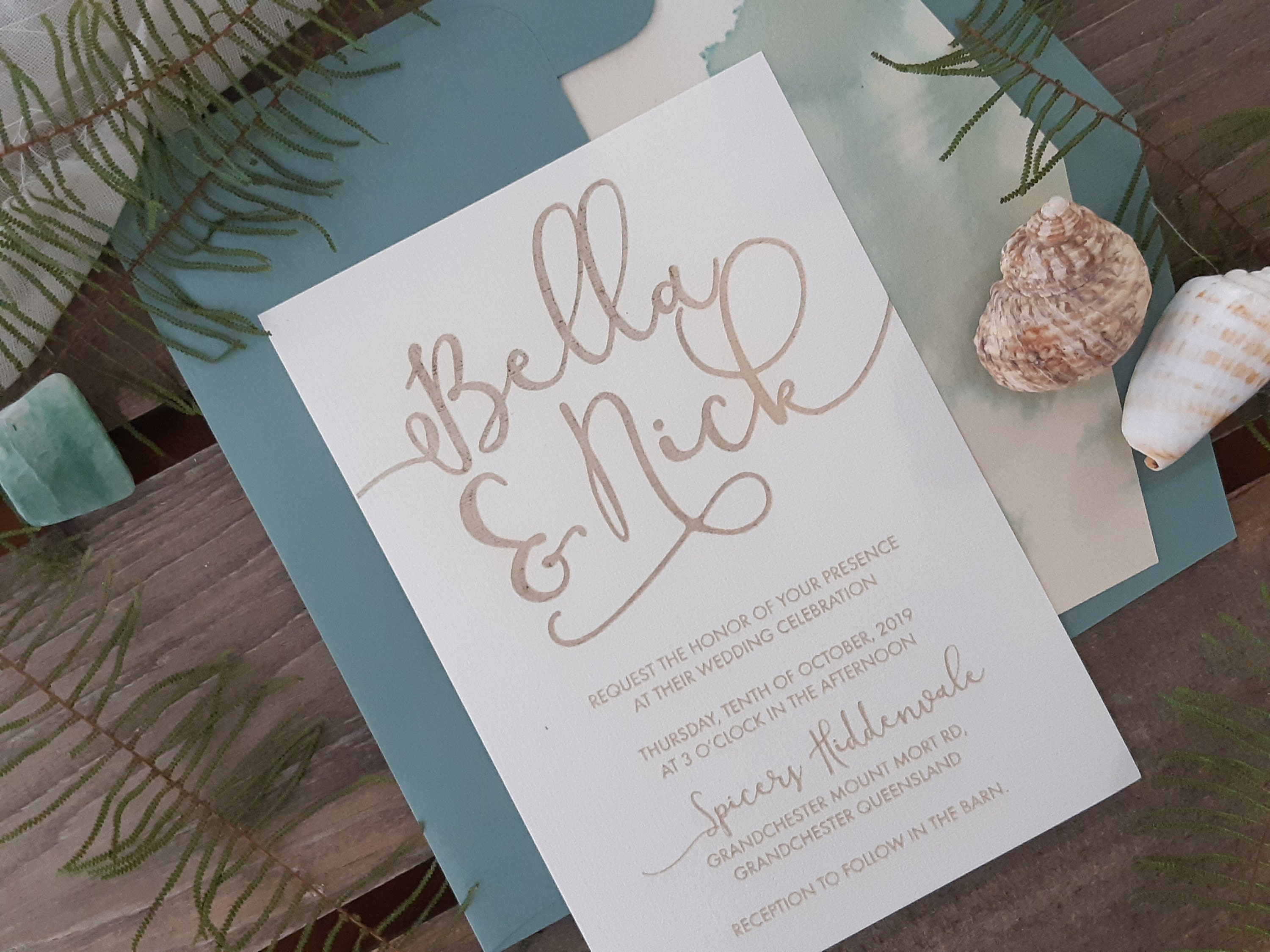 Modern Coastal Invitation - Sea green