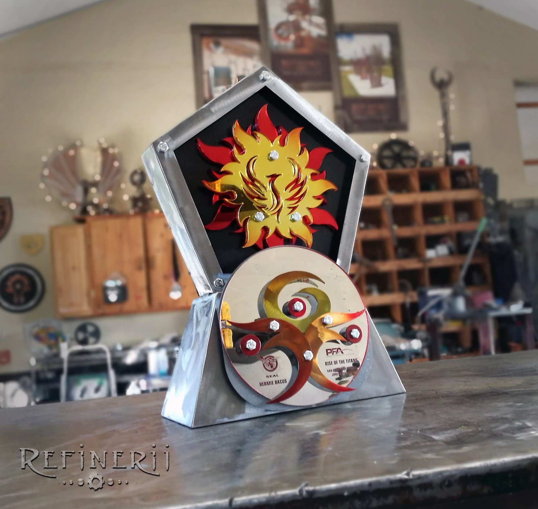 custom metal award fire