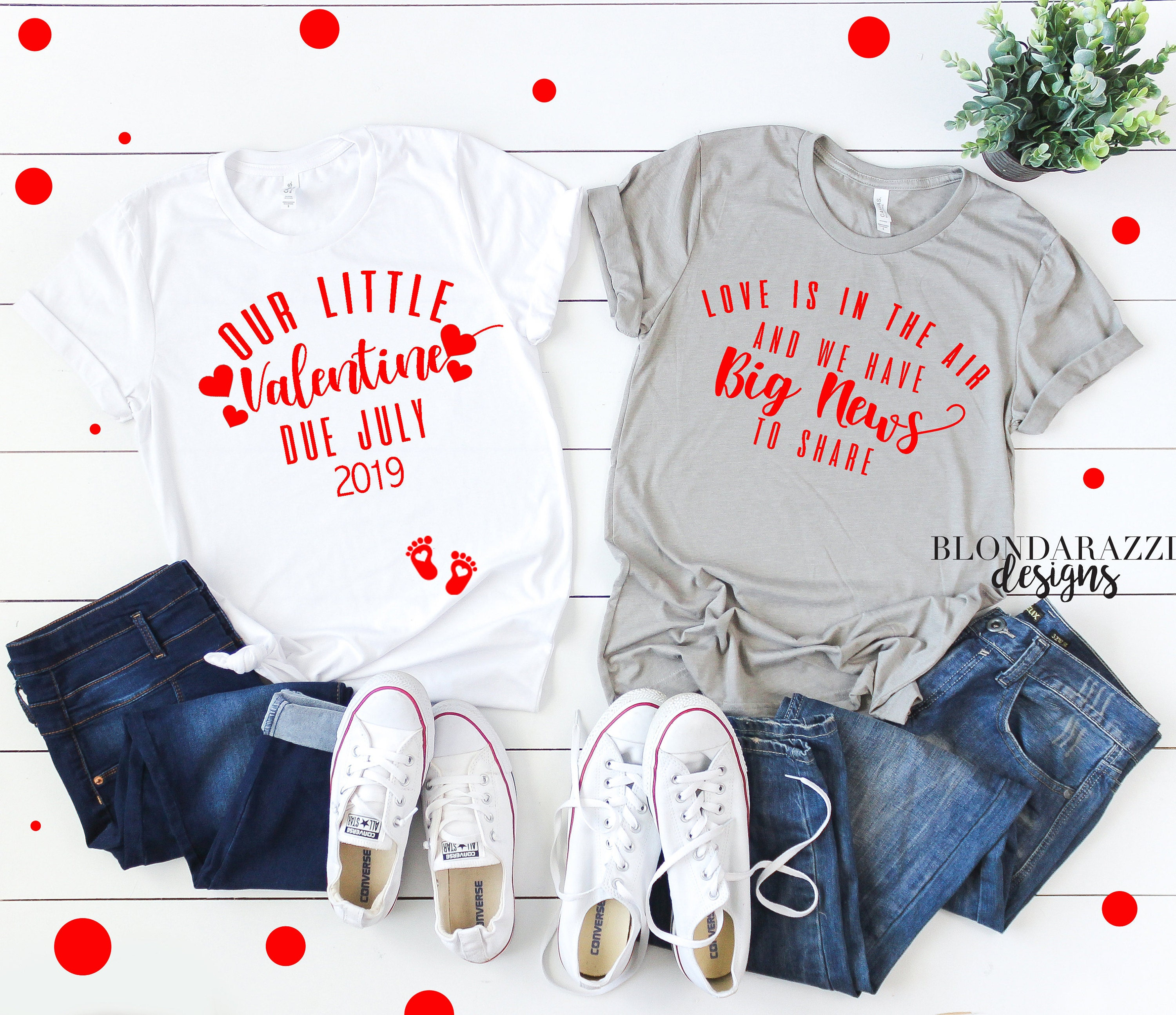 our little valentine shirts love is in the air big news to share valentines day mom and dad shirts